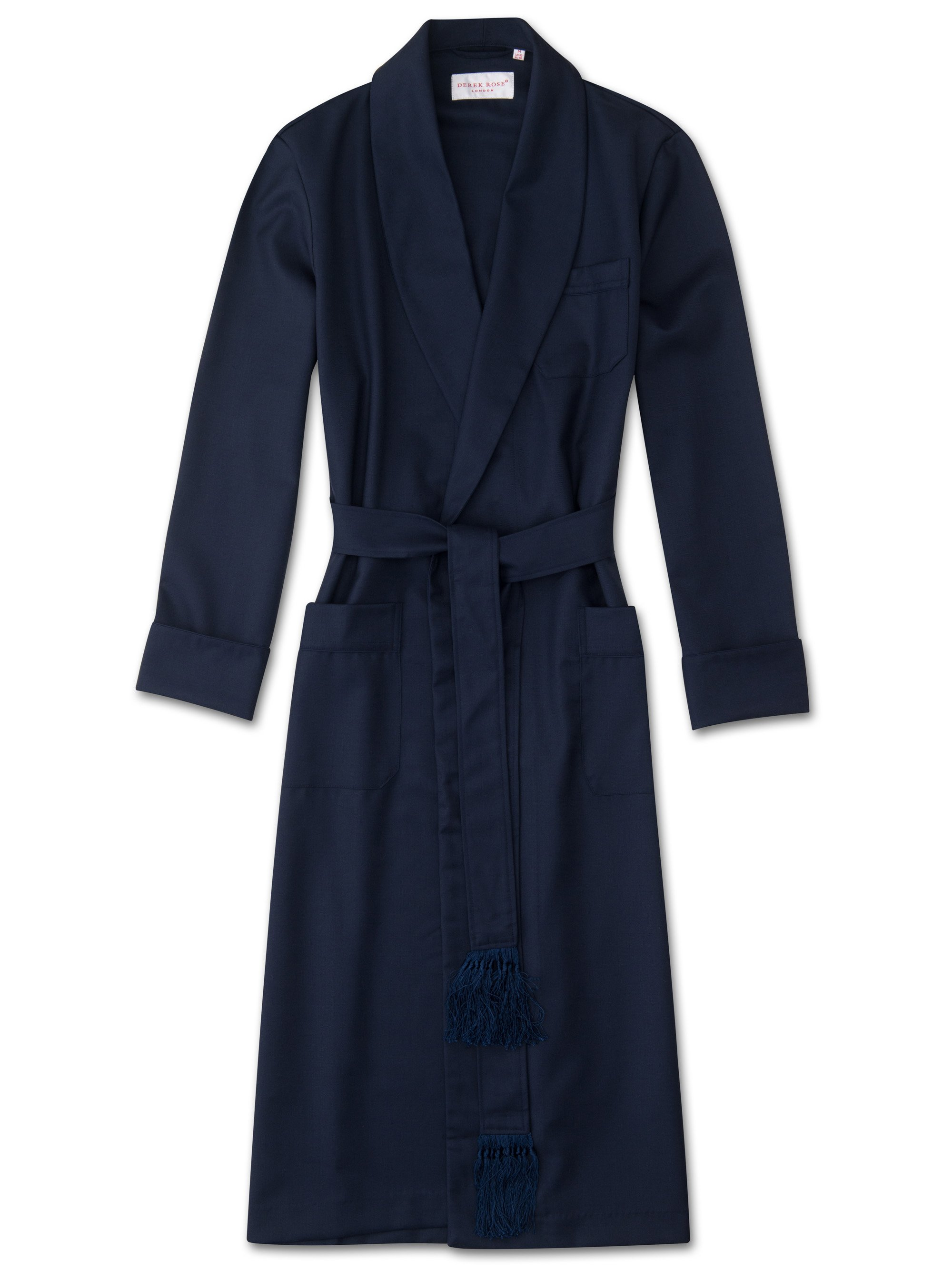 Men's Tasseled Belt Dressing Gown Westminster 2 Pure Wool Navy