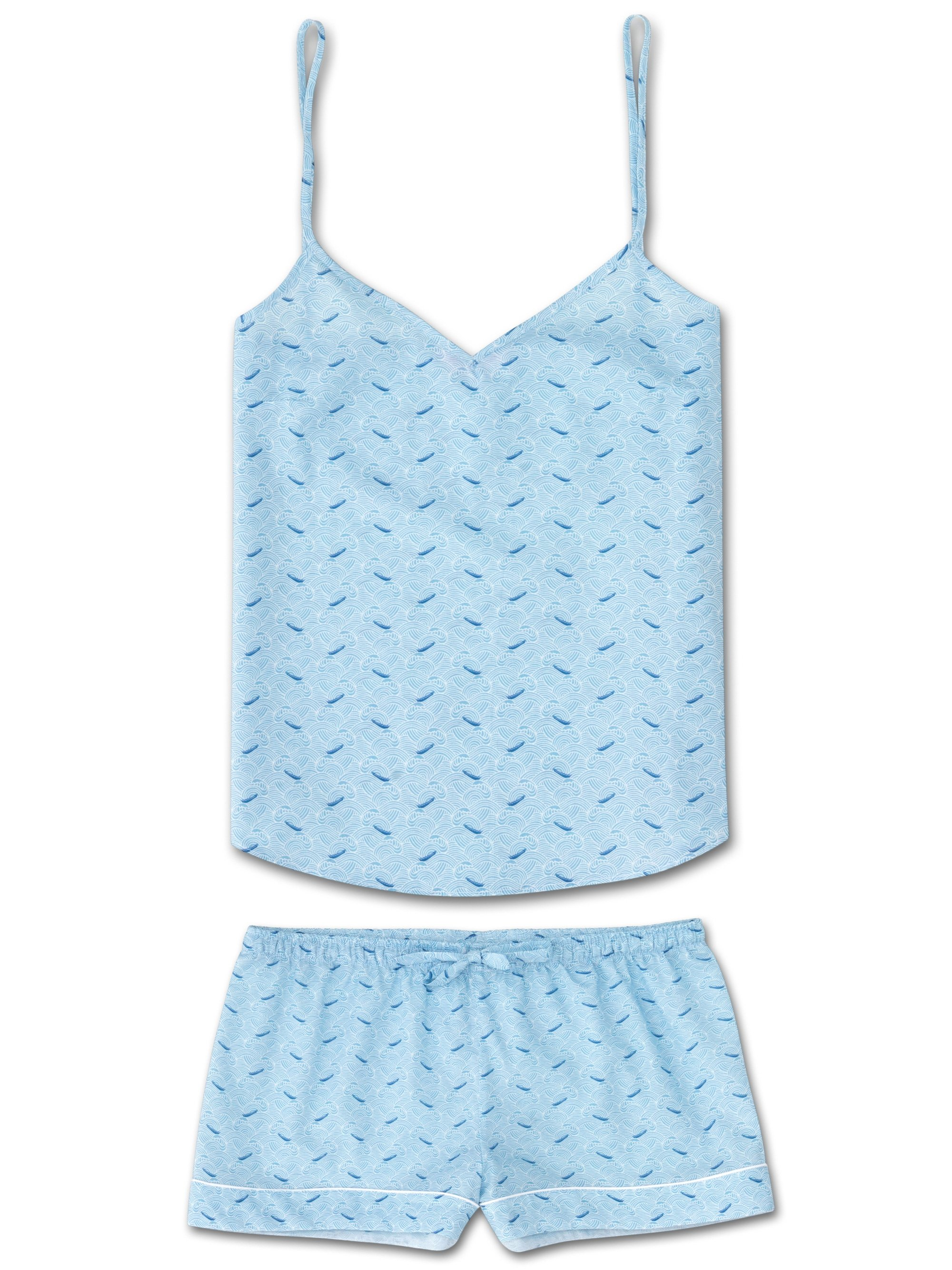 Women's Cami Short Pyjama Set Ledbury 12 Cotton Batiste Blue