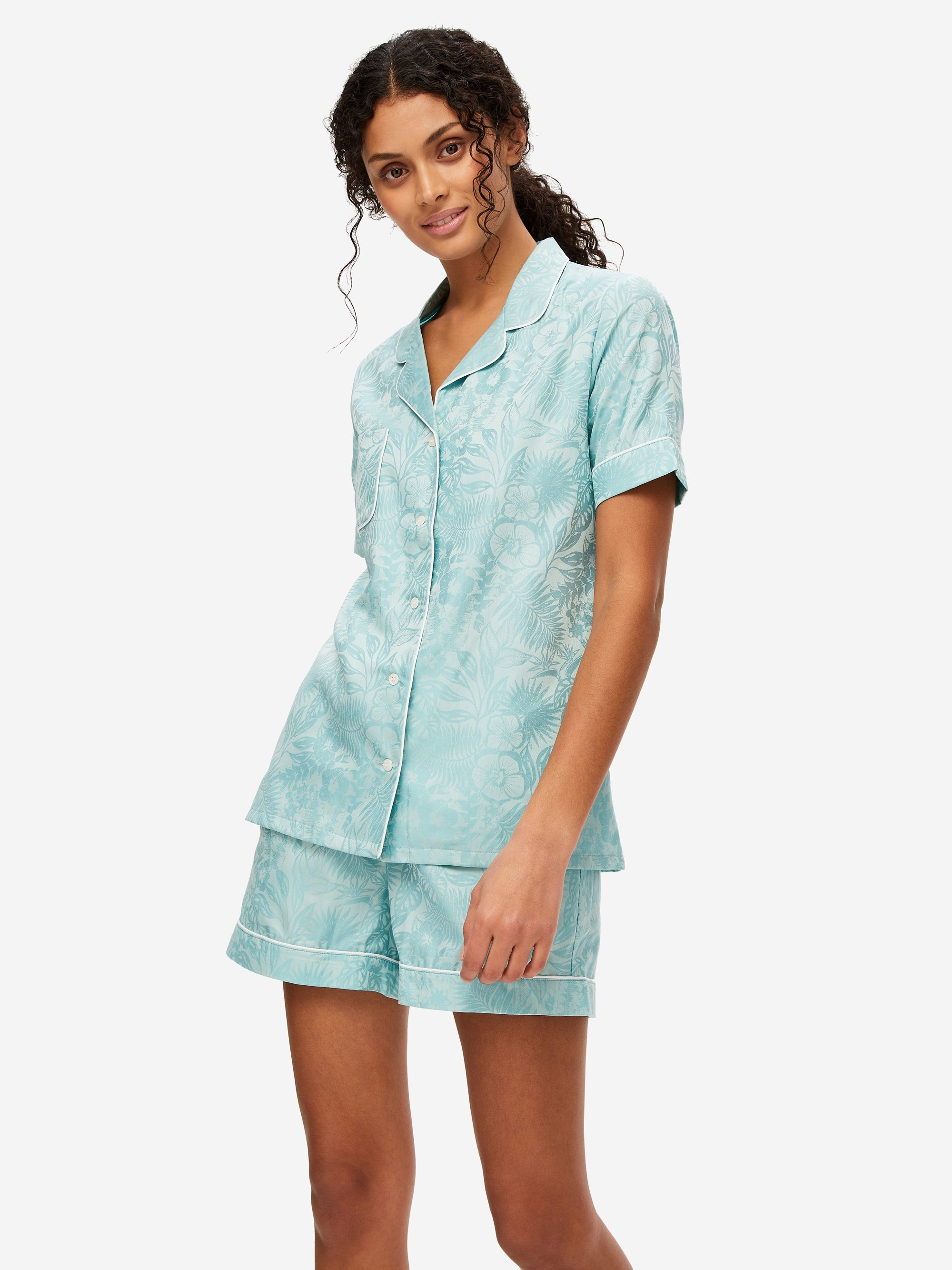 Women's Shortie Pyjamas Paris 19 Cotton Jacquard Mint