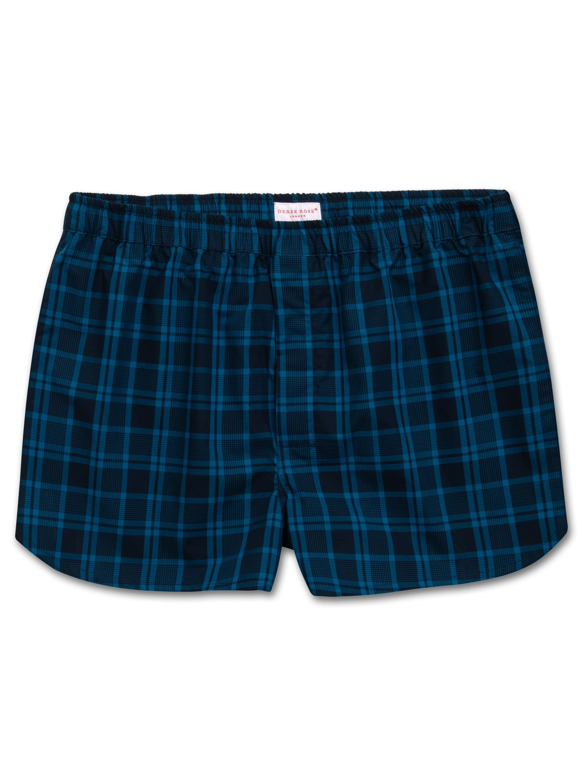 Men's Modern Fit Boxer Shorts Barker 24 Cotton Check Navy