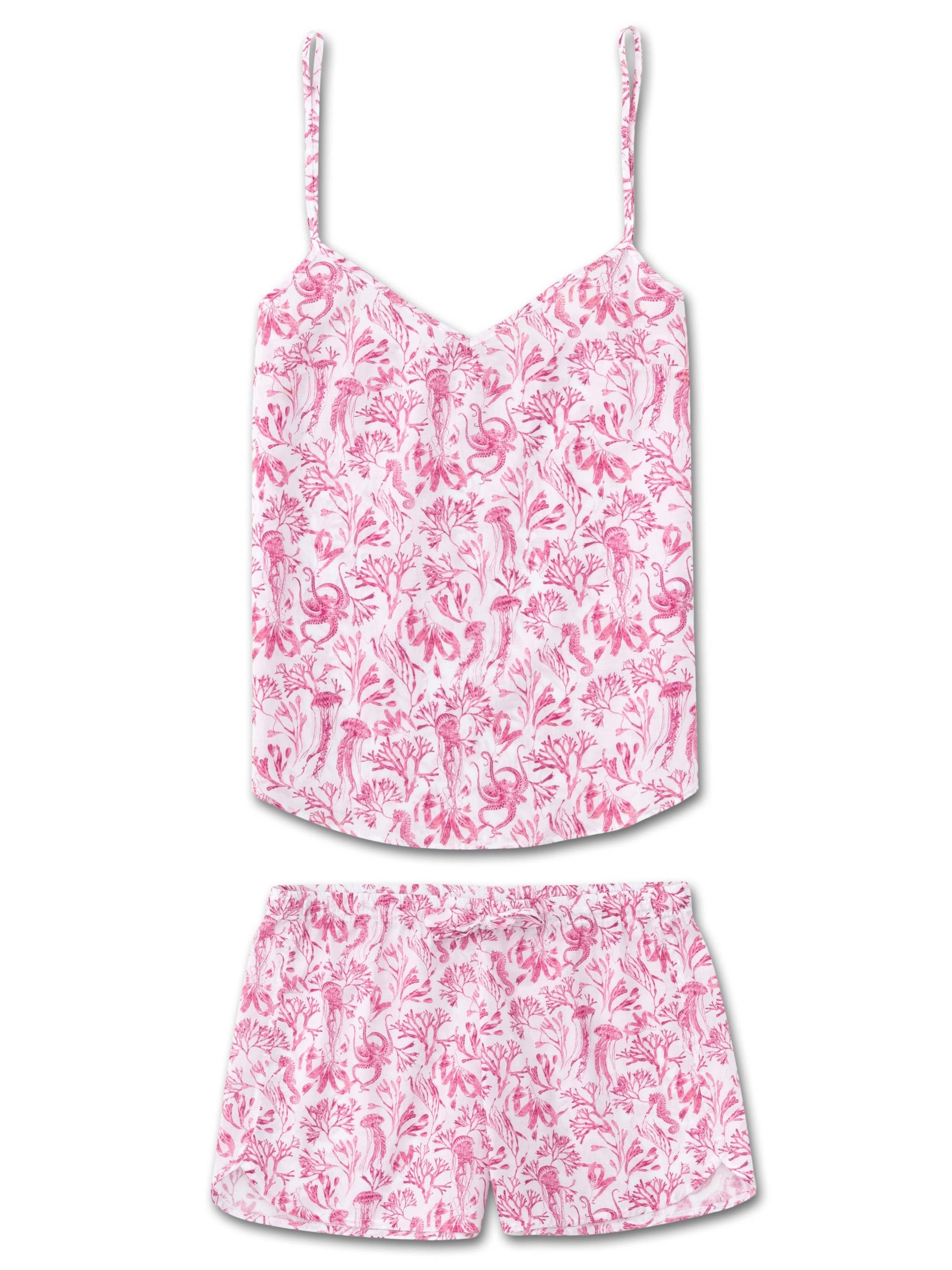 Women's Cami Short Pyjama Set Ledbury 22 Cotton Batiste Pink