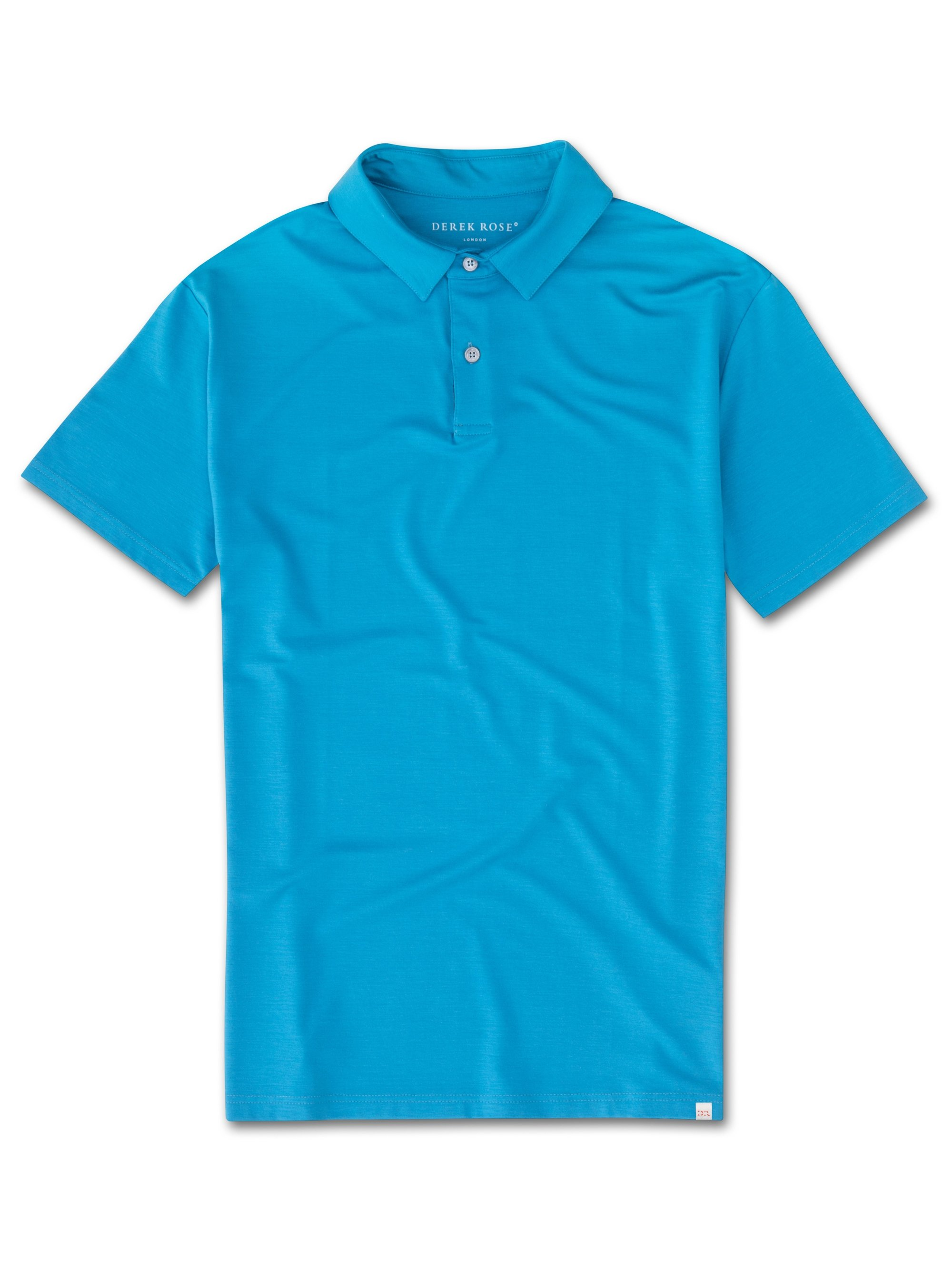 Men's Short Sleeve Polo Shirt Basel 6 Micro Modal Stretch Blue