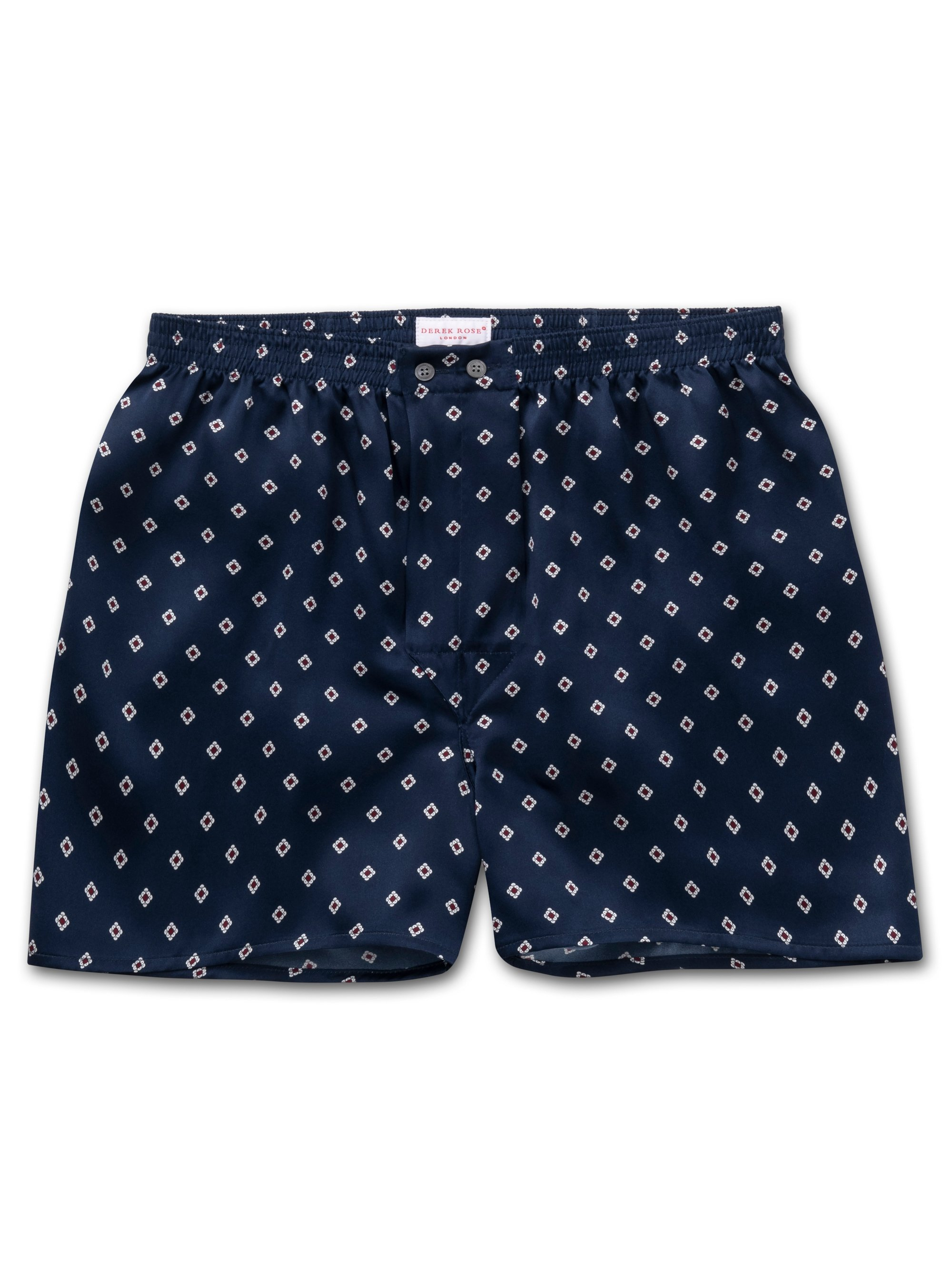Men's Classic Fit Boxer Shorts Brindisi 58 Pure Silk Satin Navy