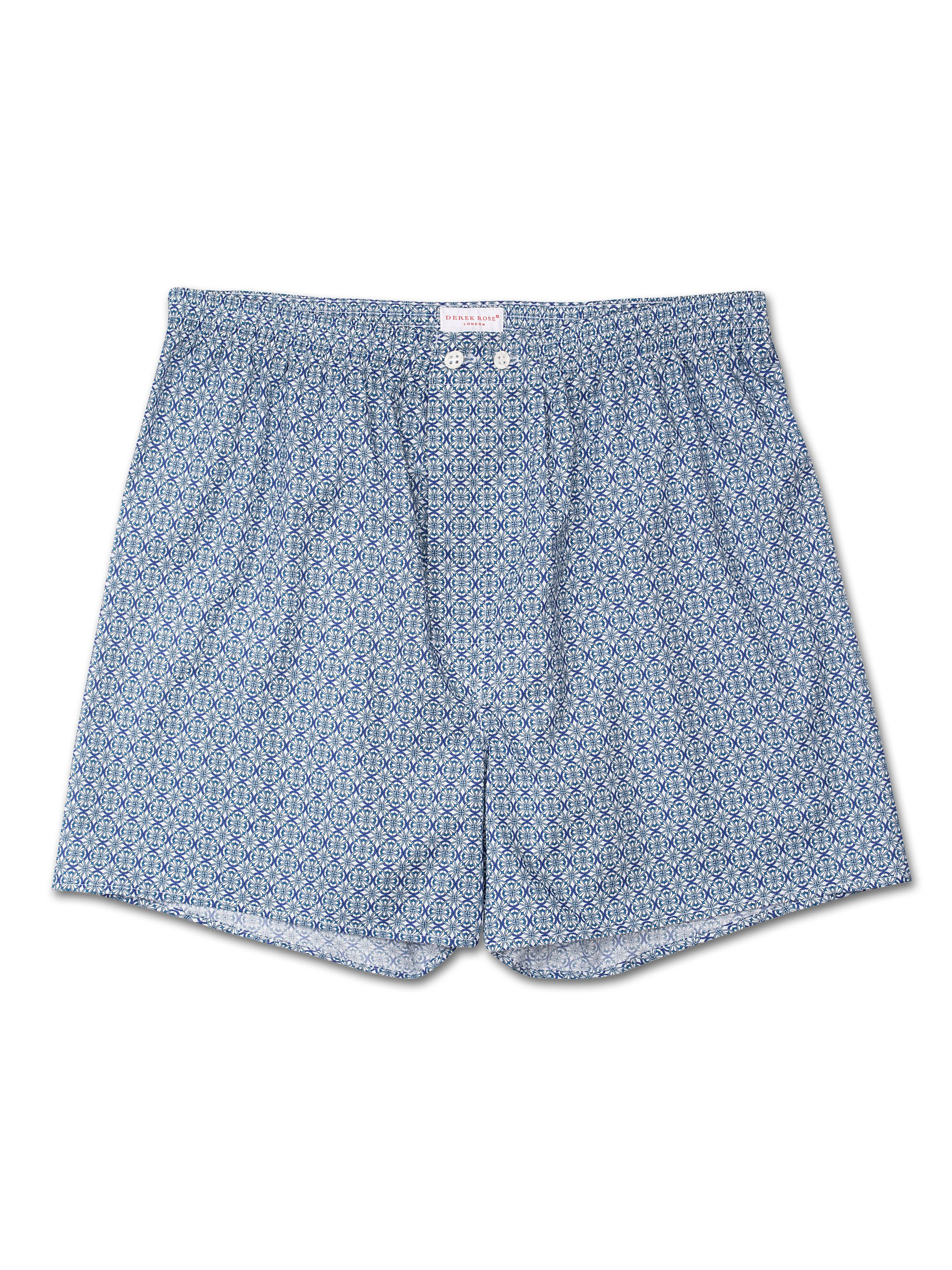 Men's Classic Fit Boxer Shorts Damask 7 Cotton Batiste Blue