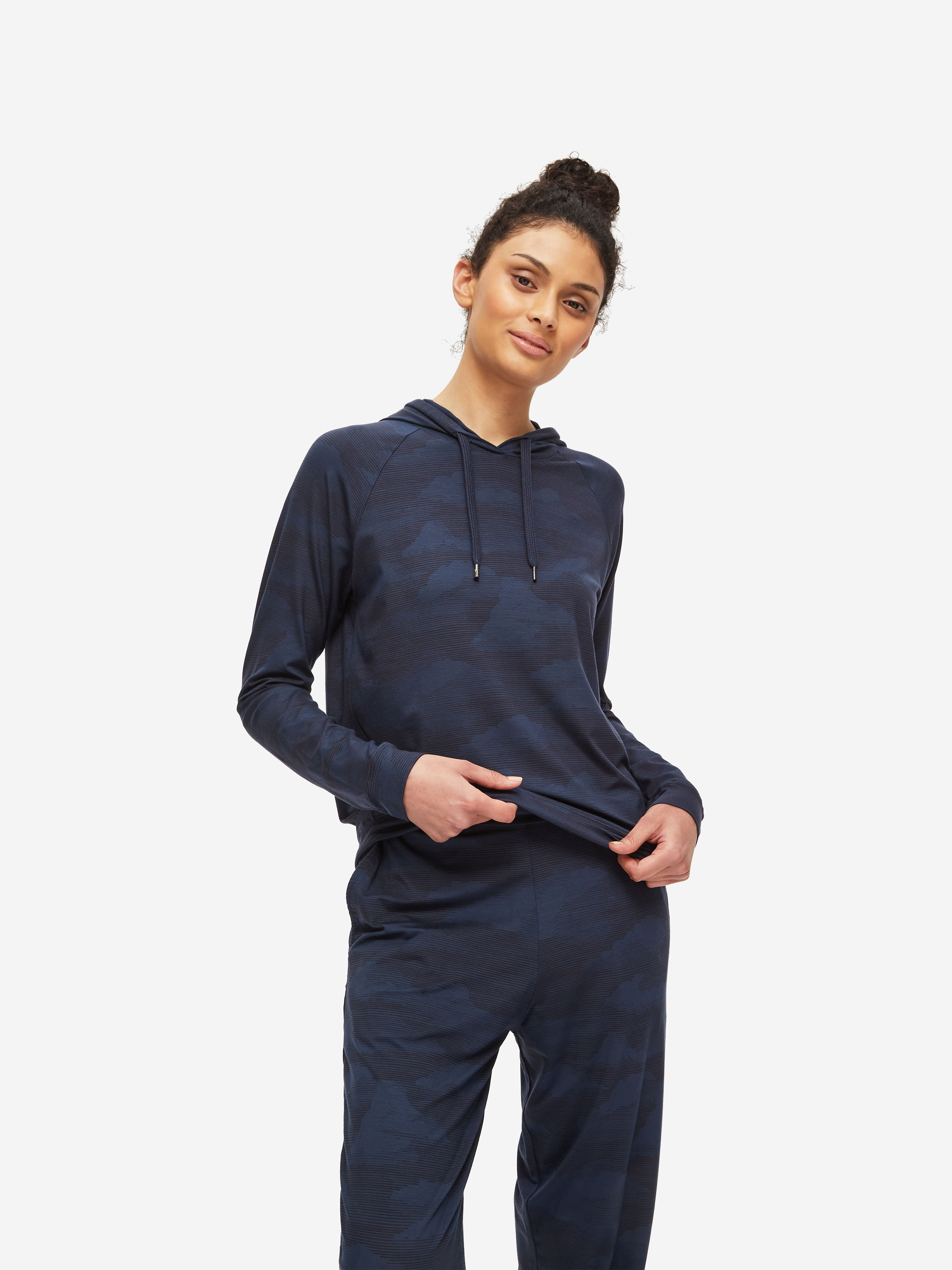 Women's Pullover Hoodie London 5 Micro Modal Stretch Navy