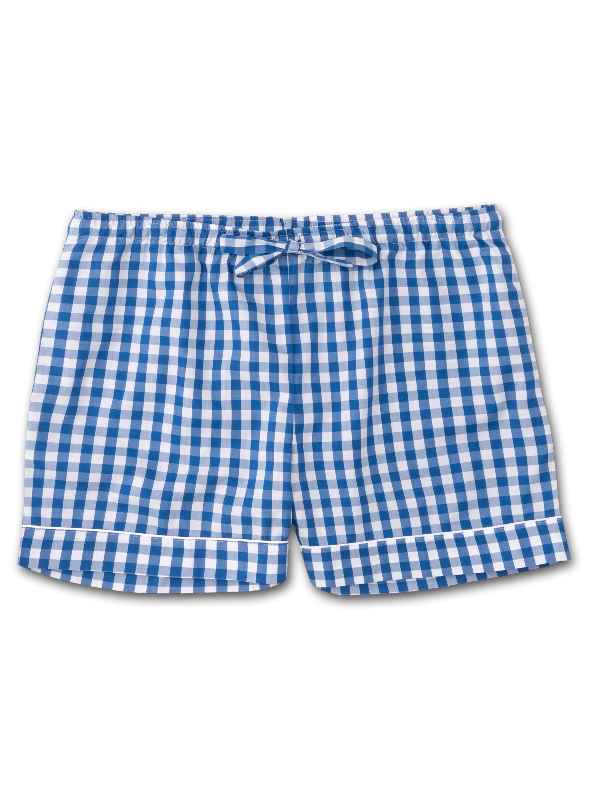 Women's Lounge Shorts Barker 26 Cotton Check Blue