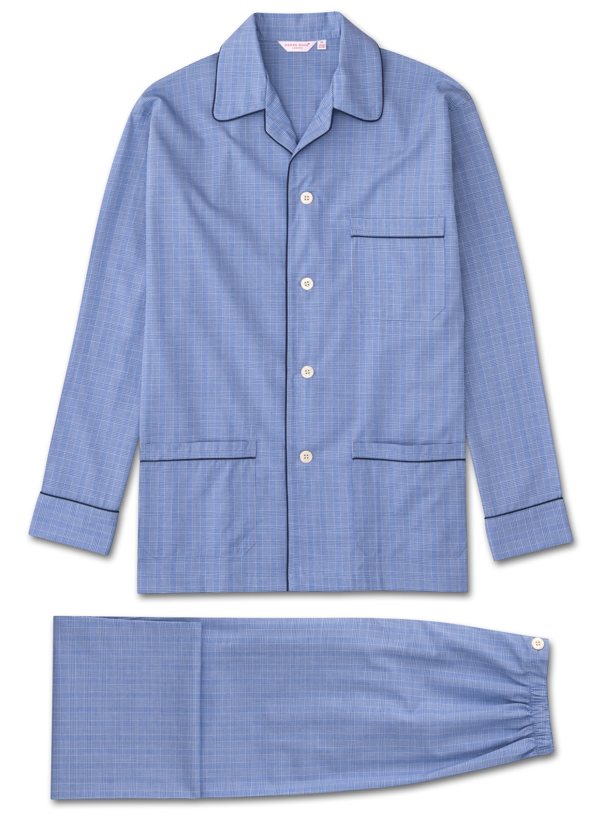 blue prince of wales checked pyjama