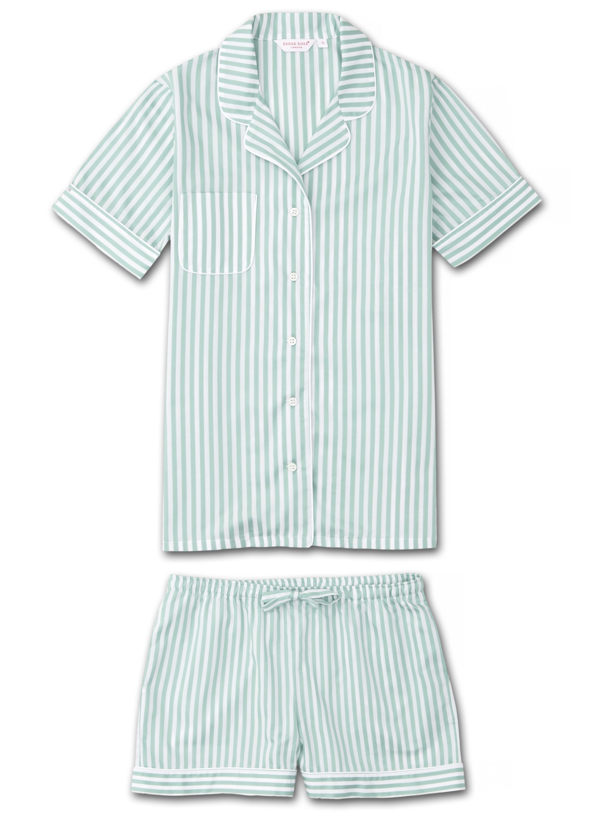 Women's Shortie Pyjamas Capri 16 Pure Cotton Green