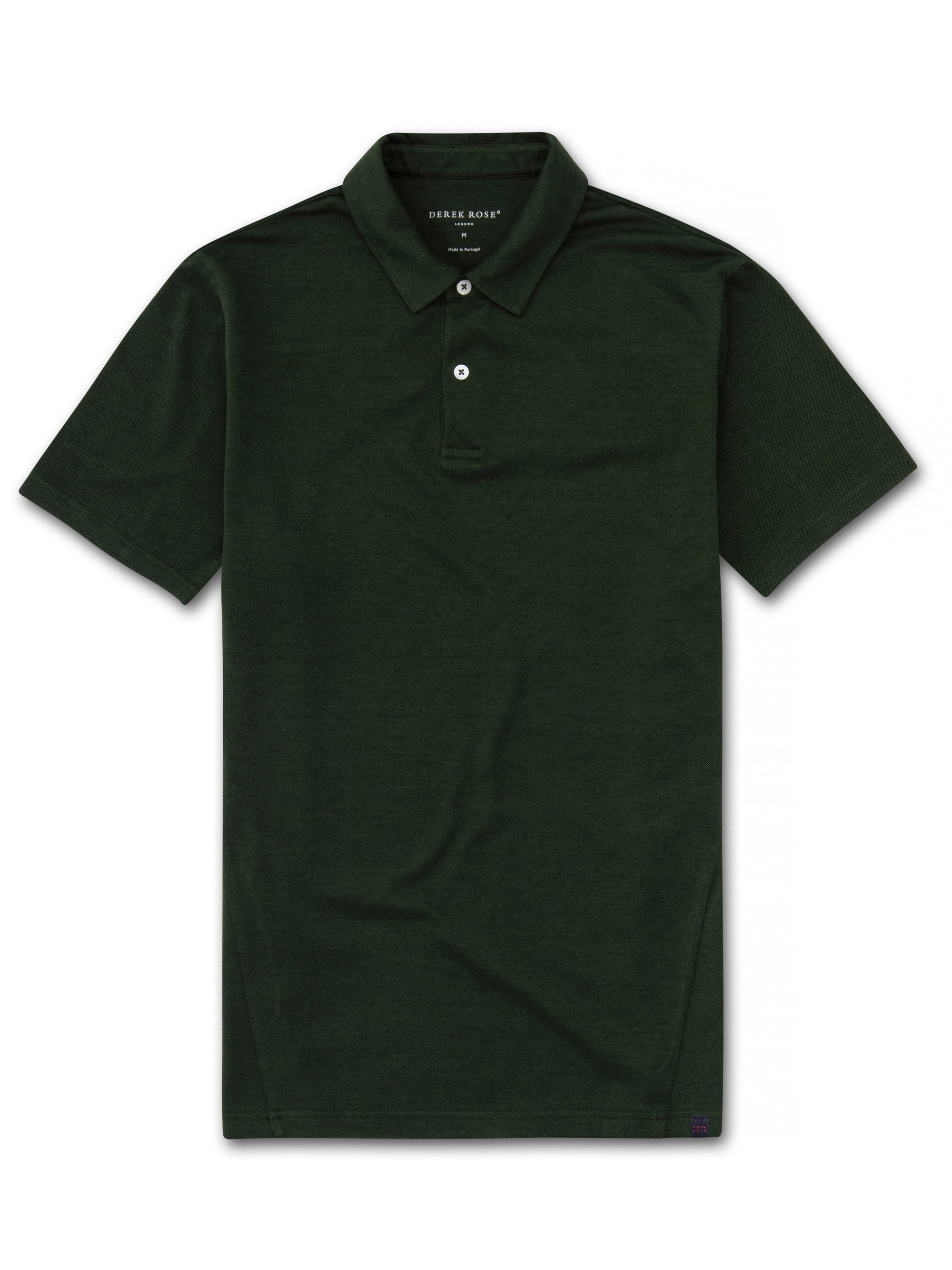 Men's Short Sleeve Polo Shirt Ramsay Pique Cotton Tencel Green