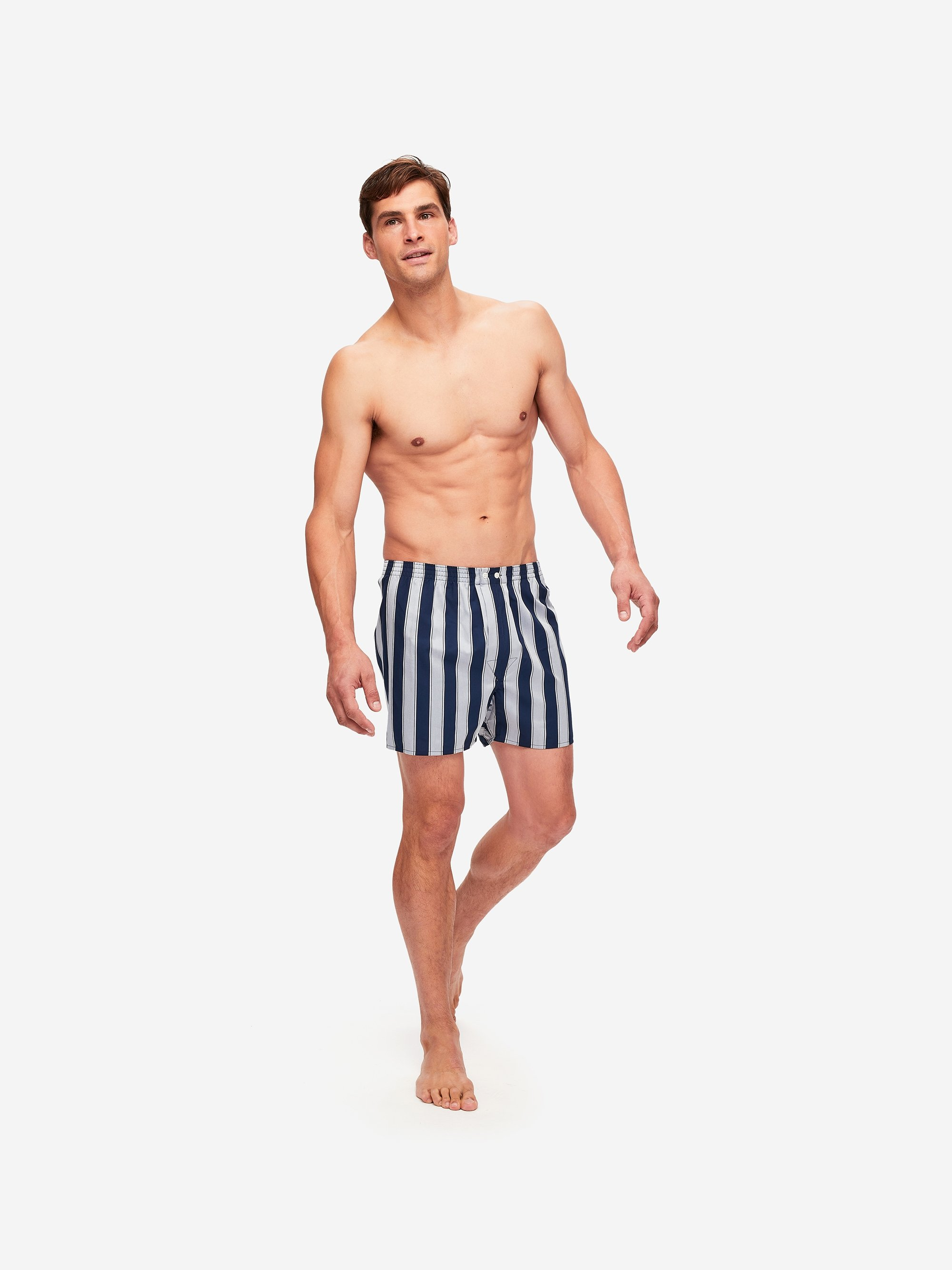 Men's Classic Fit Boxer Shorts Royal 216 Cotton Satin Stripe Navy