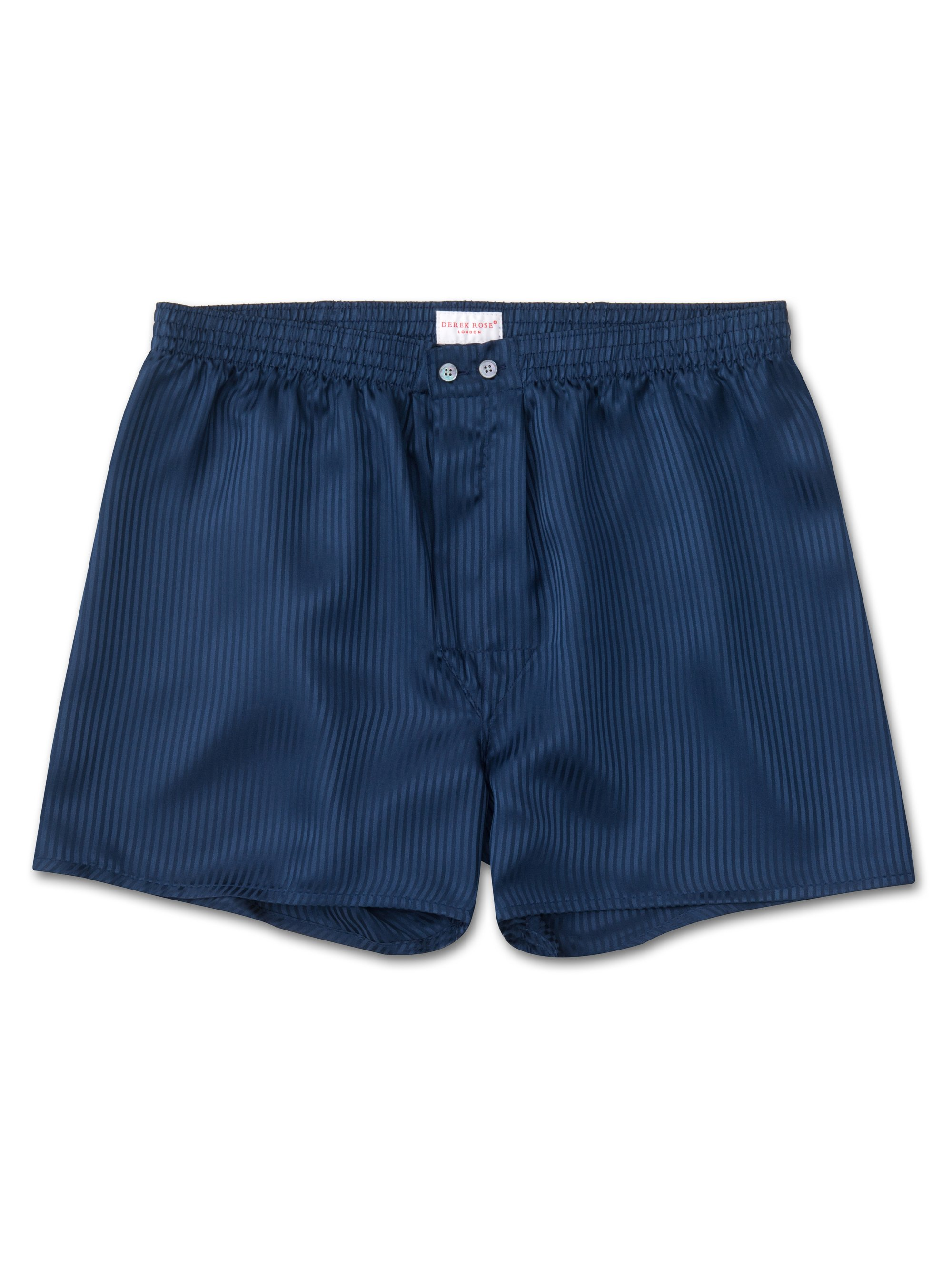 Men's Classic Fit Boxer Shorts Woburn Pure Silk Satin Stripe Navy