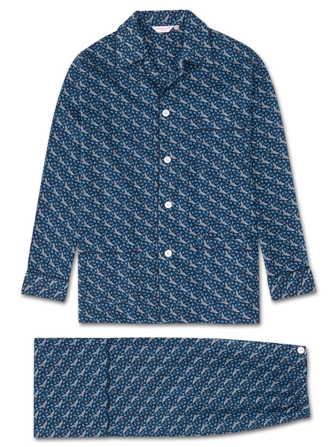 Men's Classic Fit Piped Pyjamas Ledbury 15 Cotton Batiste Navy