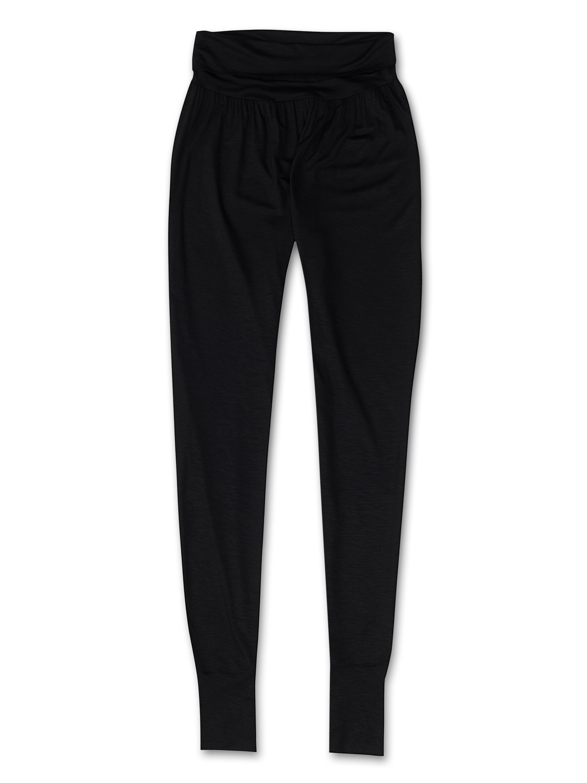 Women's Tapered Lounge Trousers Carla Micro Modal Stretch Black