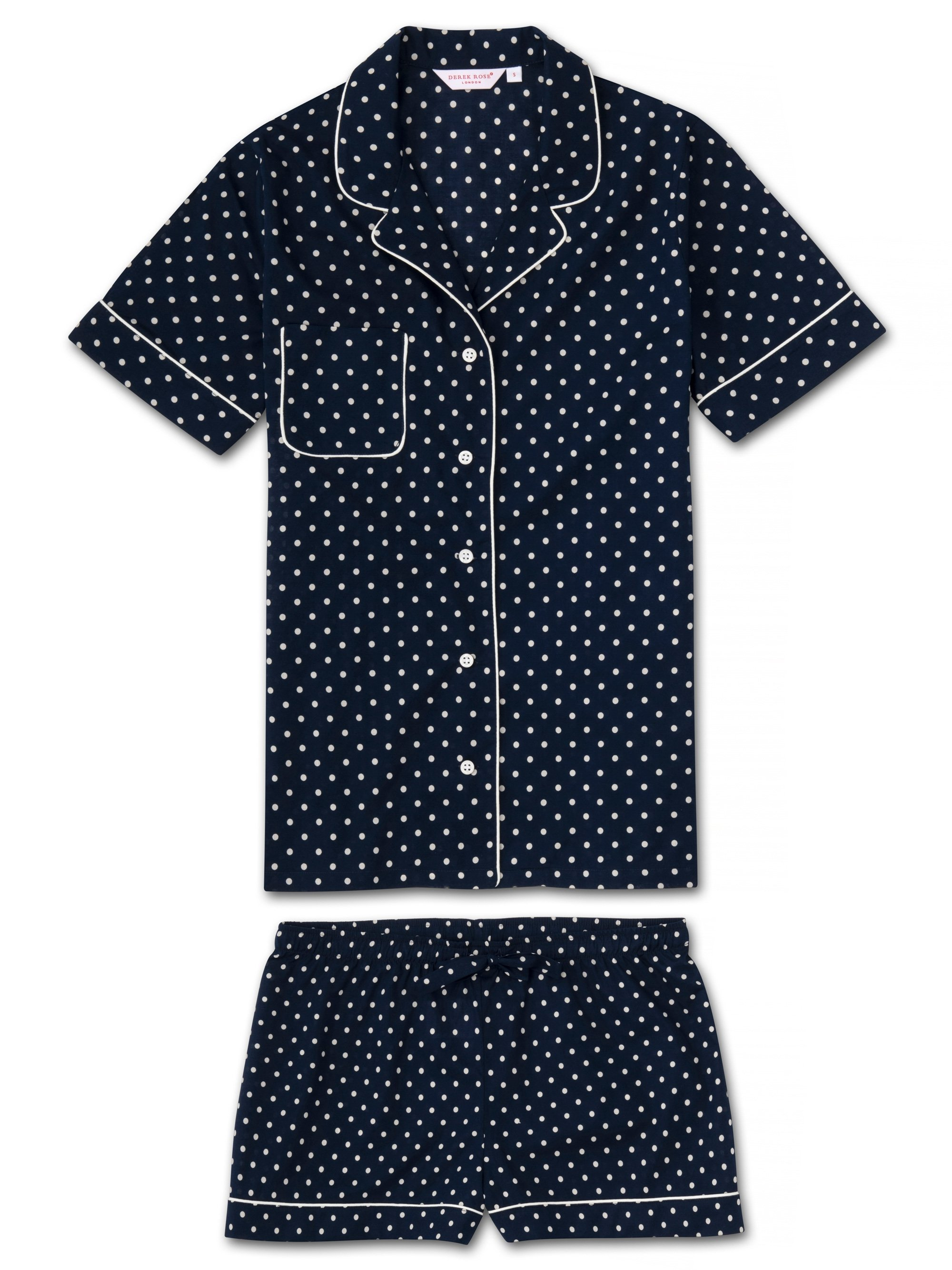 Women's Shortie Pyjamas Plaza 60 Cotton Batiste Navy
