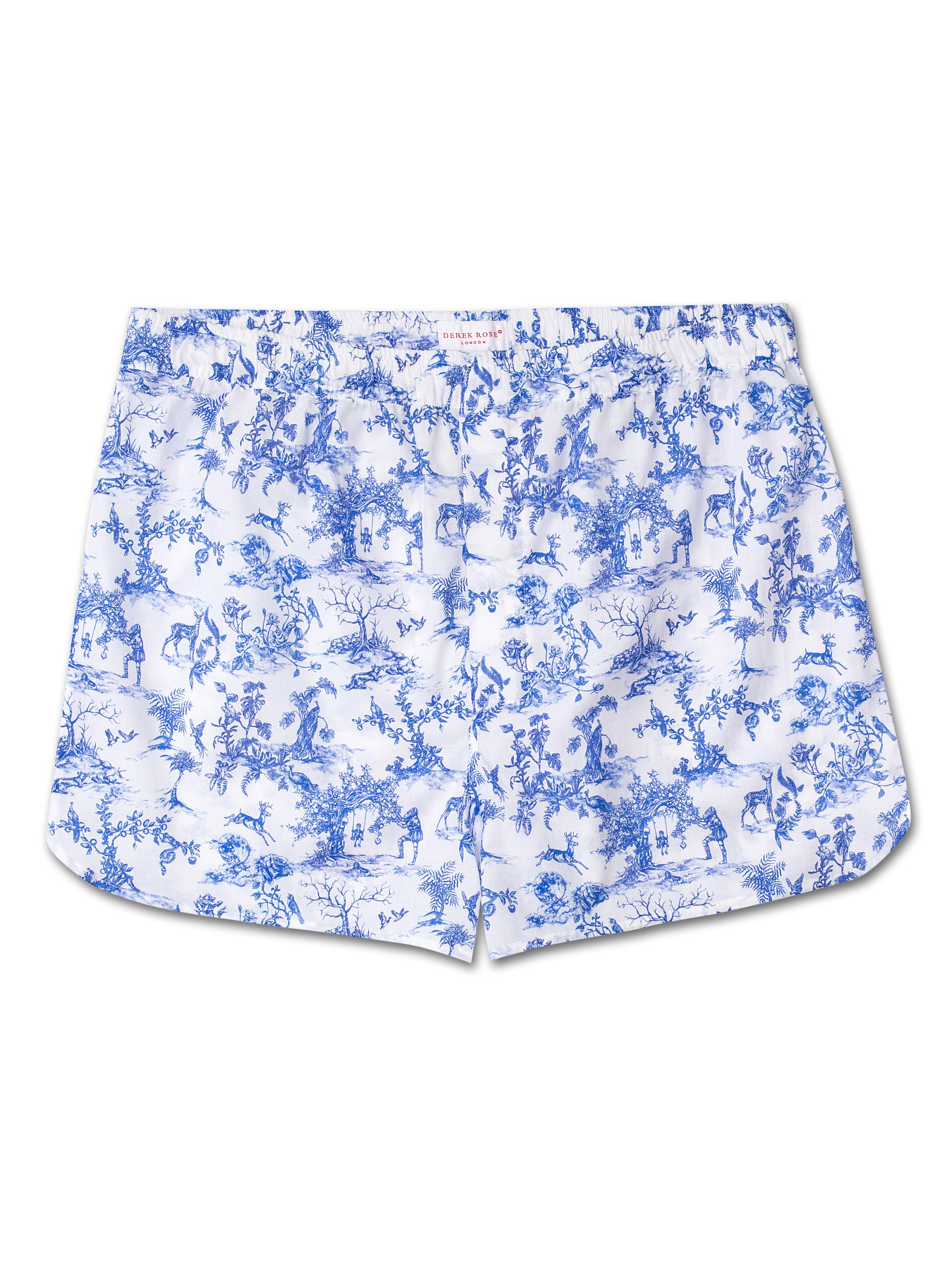 Men's Modern Fit Boxer Shorts Toile 4 Cotton Batiste Cobalt