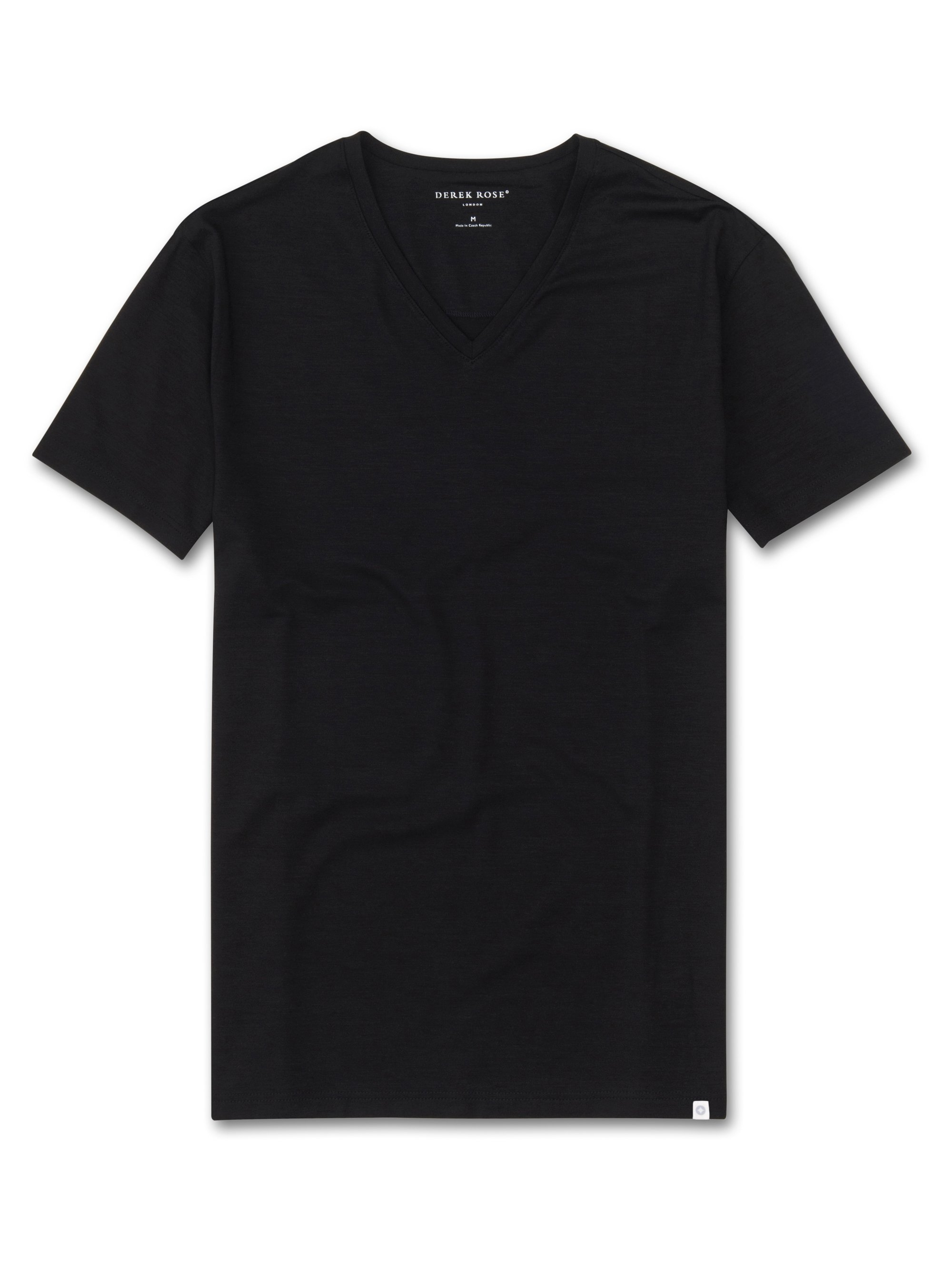 Men's Short Sleeve V-Neck T-Shirt Basel Micro Modal Stretch Black