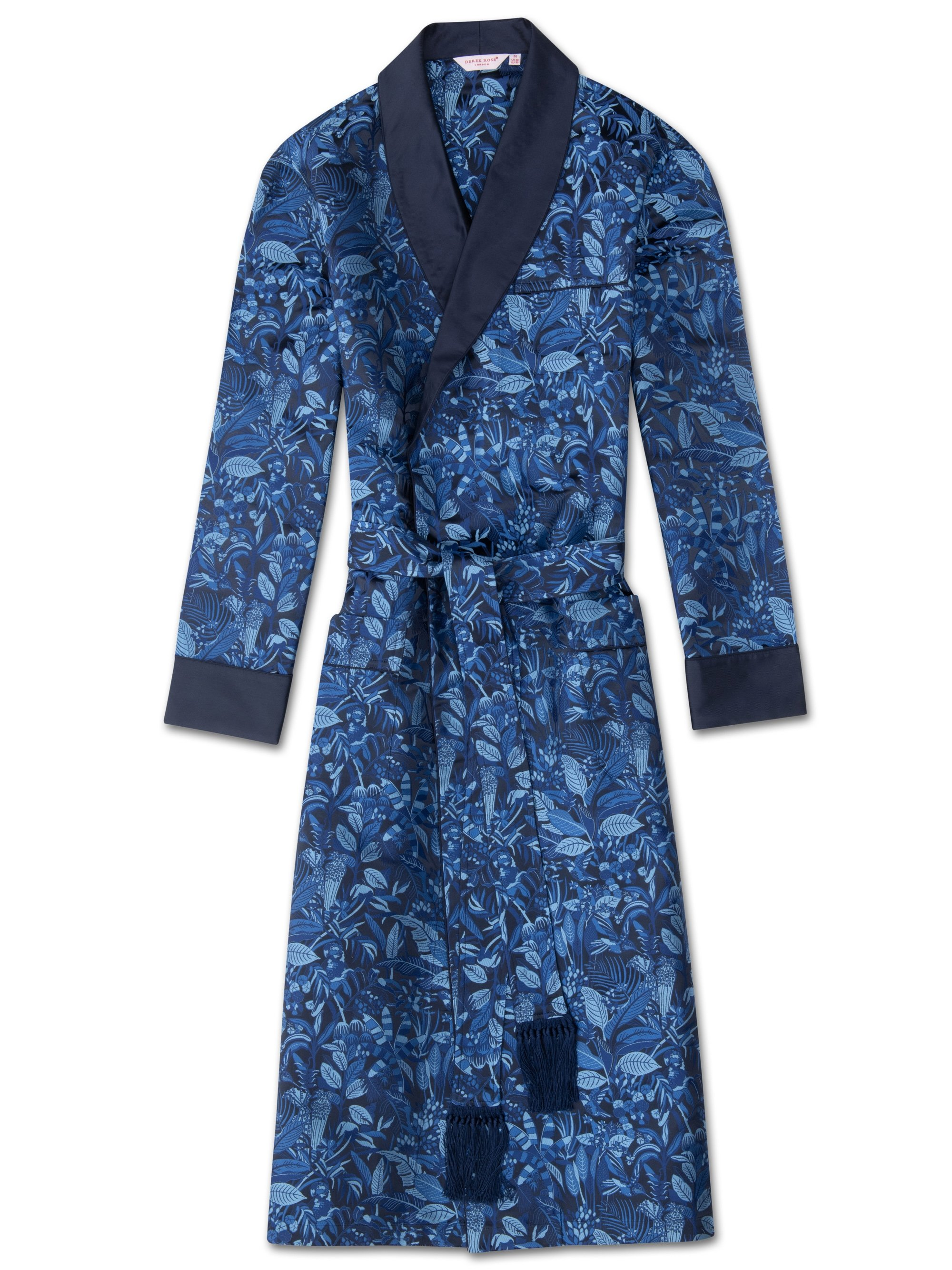 Men's Tasseled Belt Dressing Gown Verona 44 Pure Silk Jacquard Blue