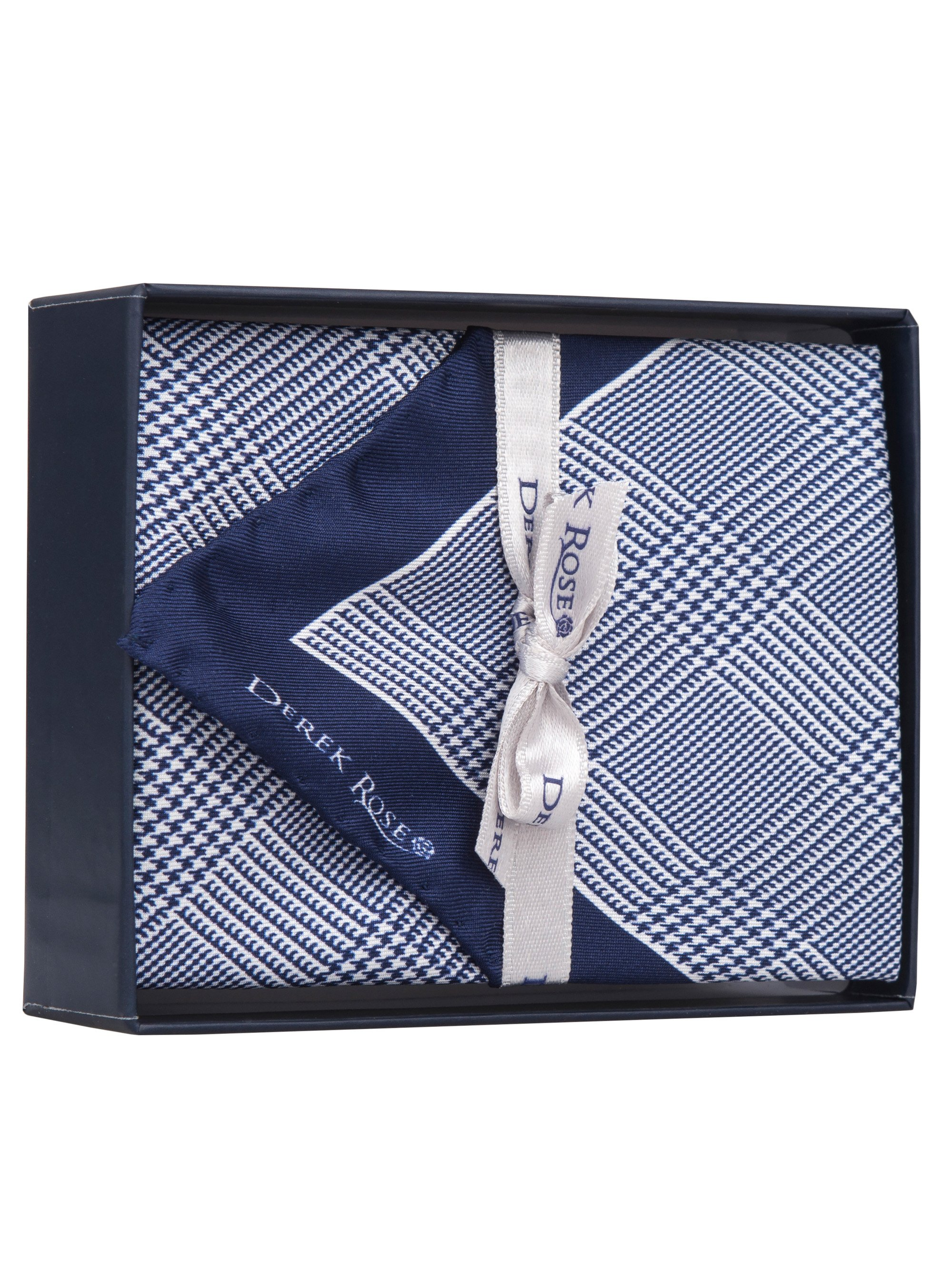Handkerchief Pure Silk Prince of Wales Check Navy