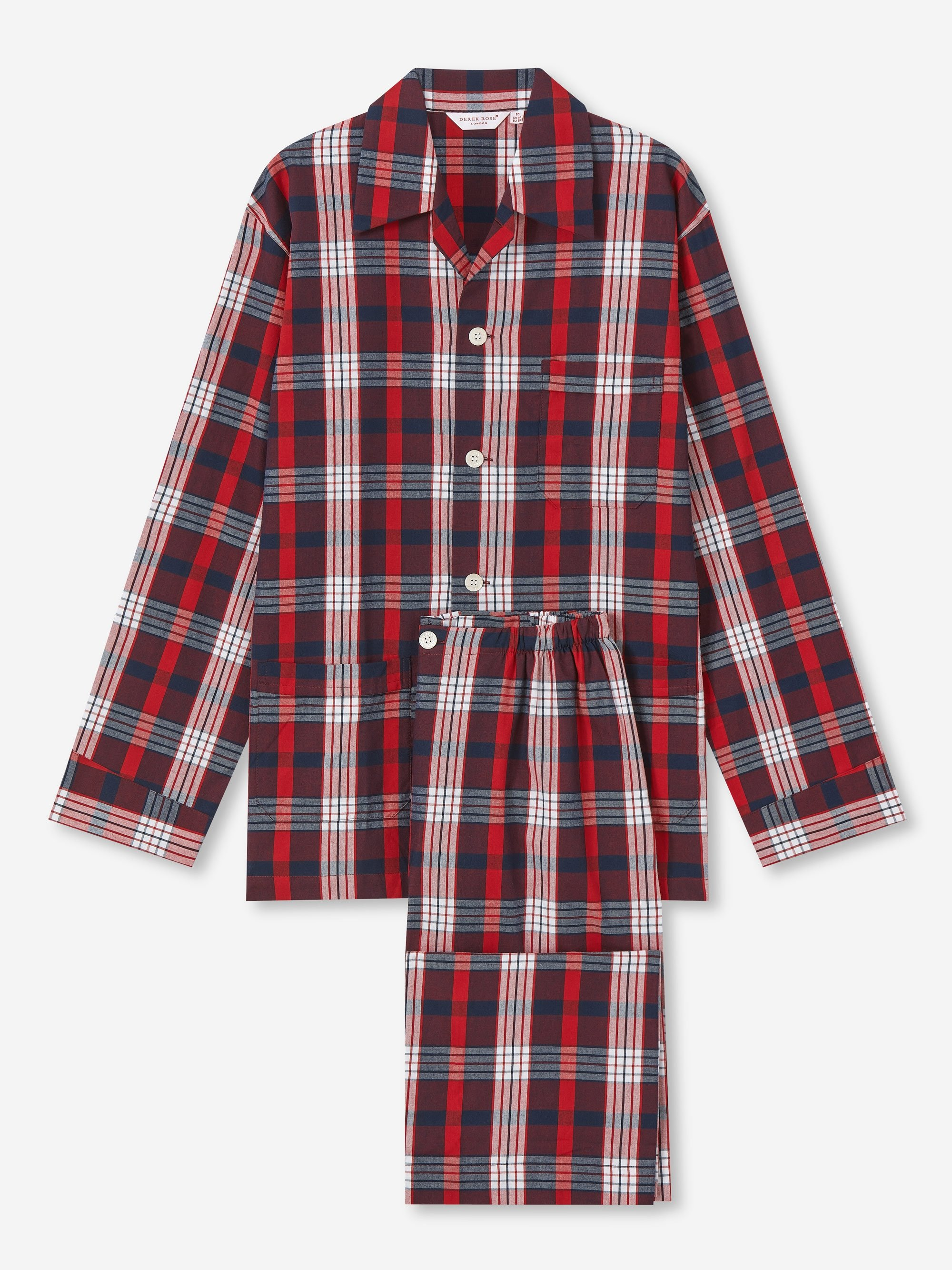 Men's Classic Fit Pyjamas Ranga 40 Brushed Cotton Check Red