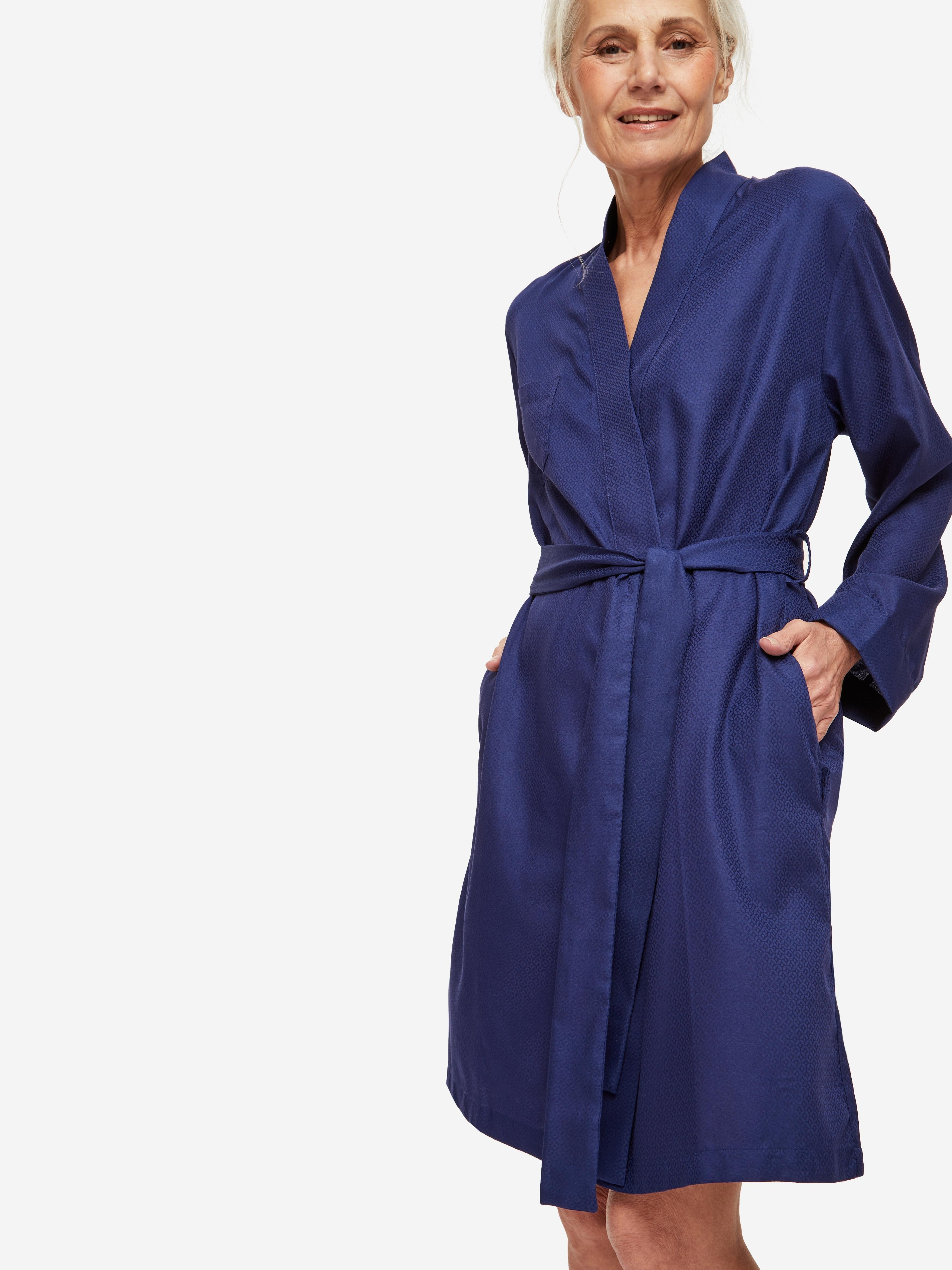 Women's Dressing Gown Lombard 6 Cotton Jacquard Navy