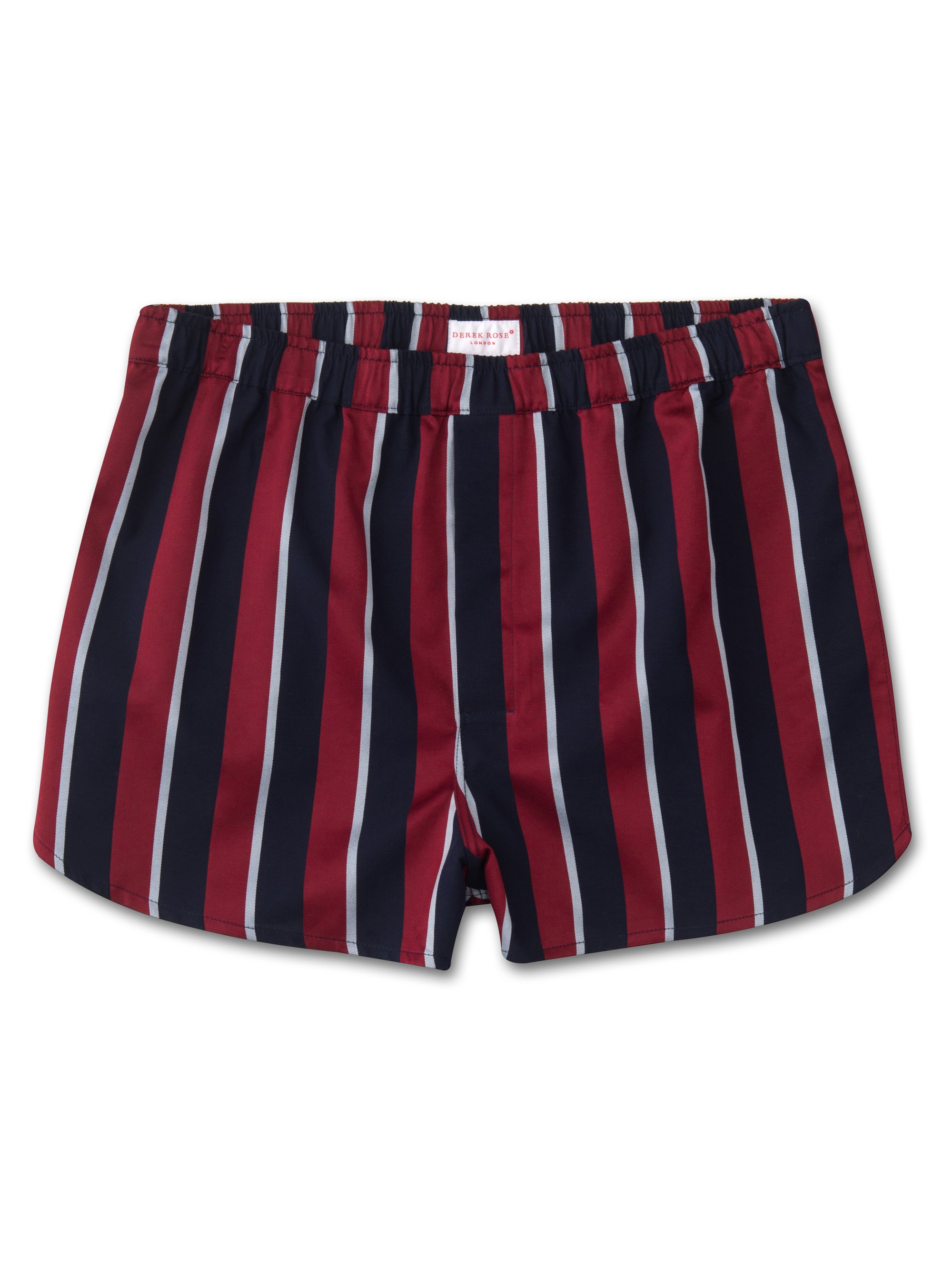 Men's Modern Fit Boxer Shorts Pure Cotton Satin Stripe Regimental RAF
