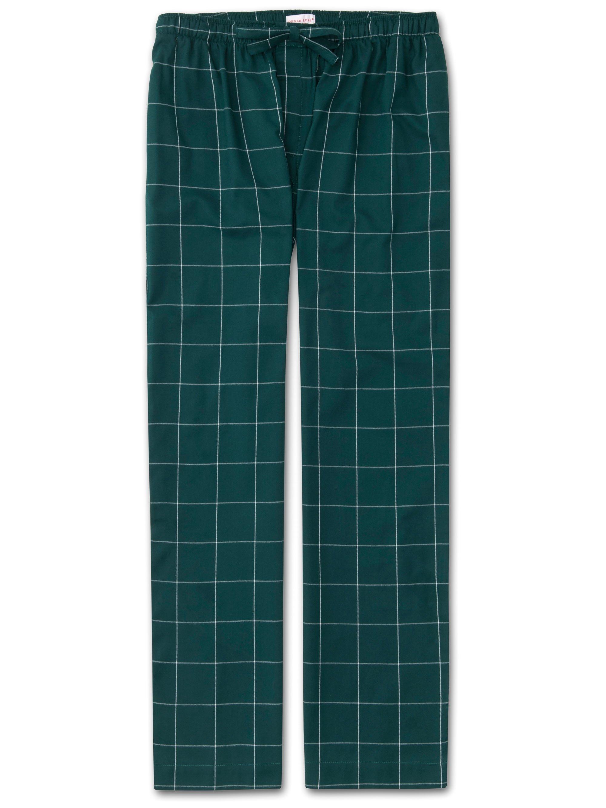 Men's Lounge Trousers Ranga 39 Brushed Cotton Check Green