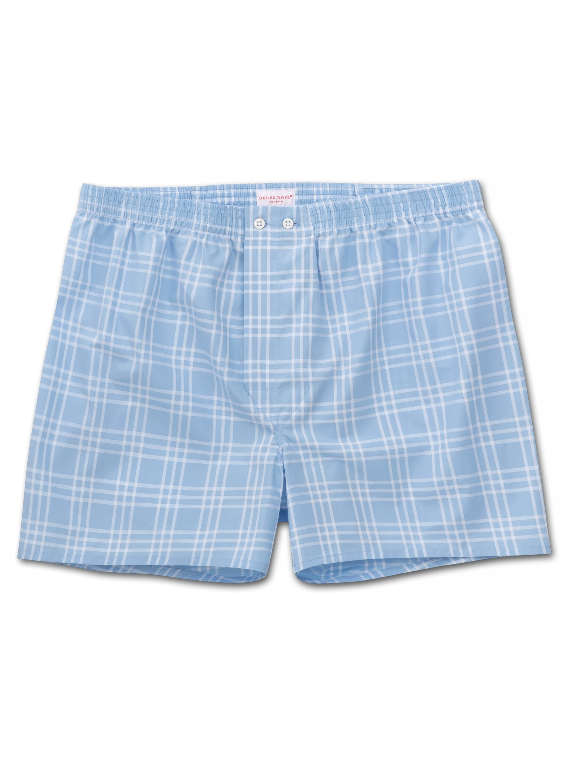 Men's Classic Fit Boxer Shorts Barker 27 Cotton Check Blue