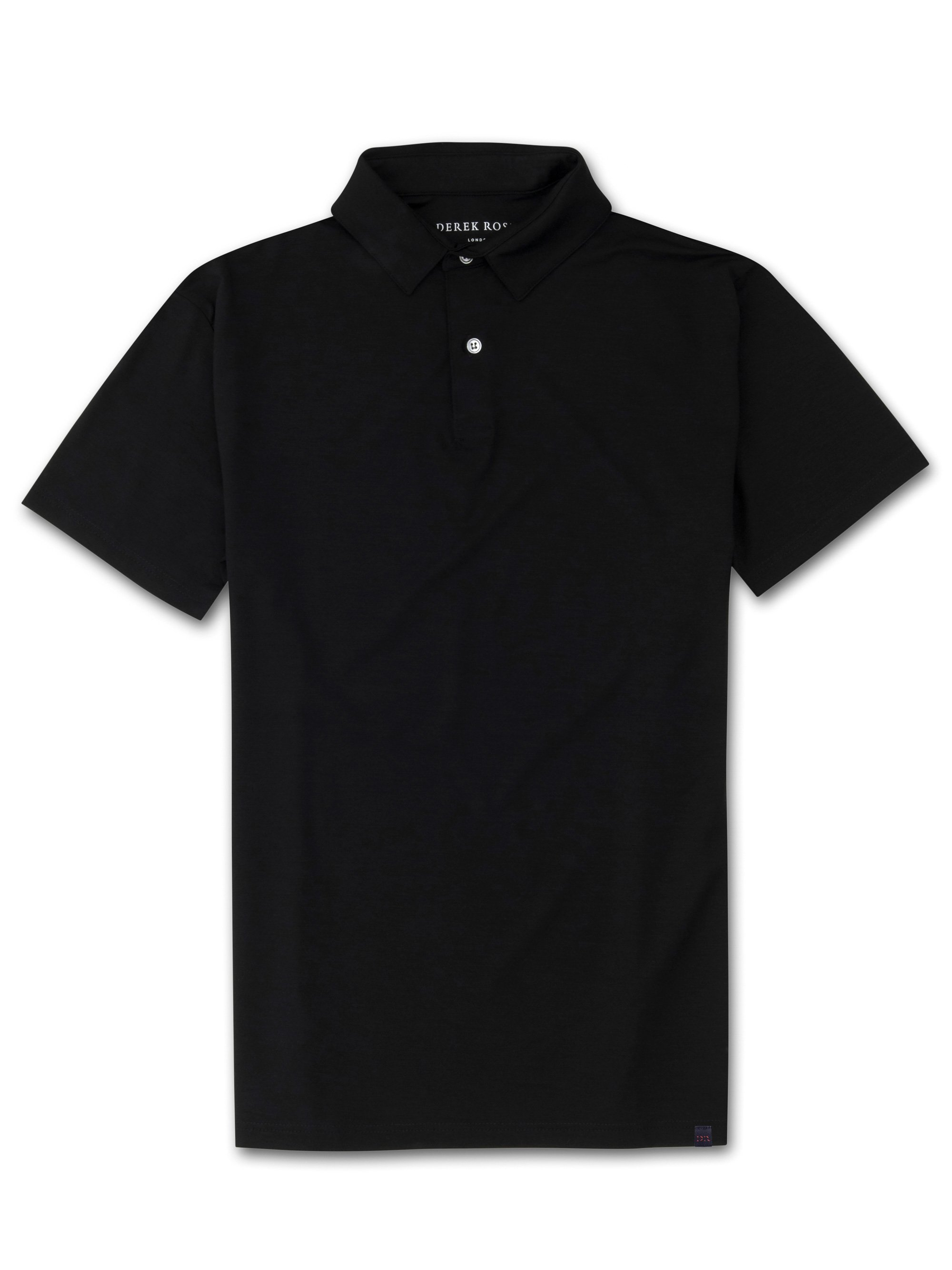 Men's Short Sleeve Polo Shirt Basel Micro Modal Stretch Black