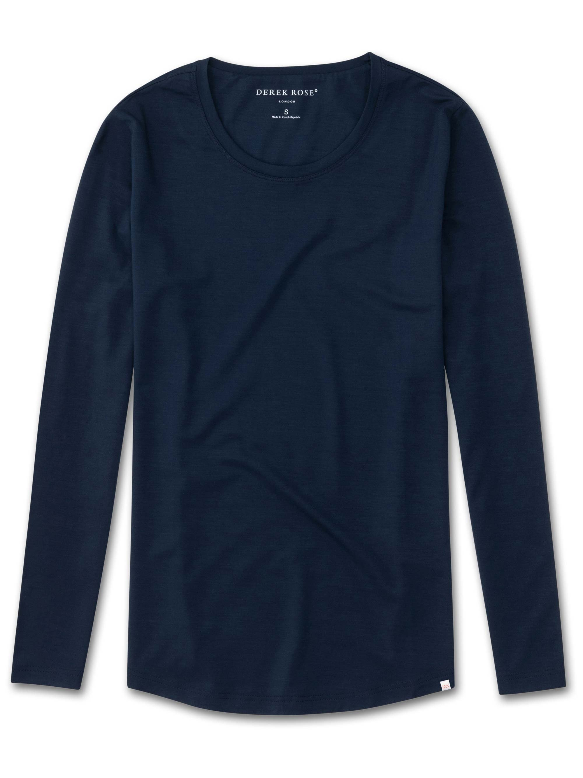 Women's Long Sleeve T-Shirt Lara Micro Modal Stretch Navy