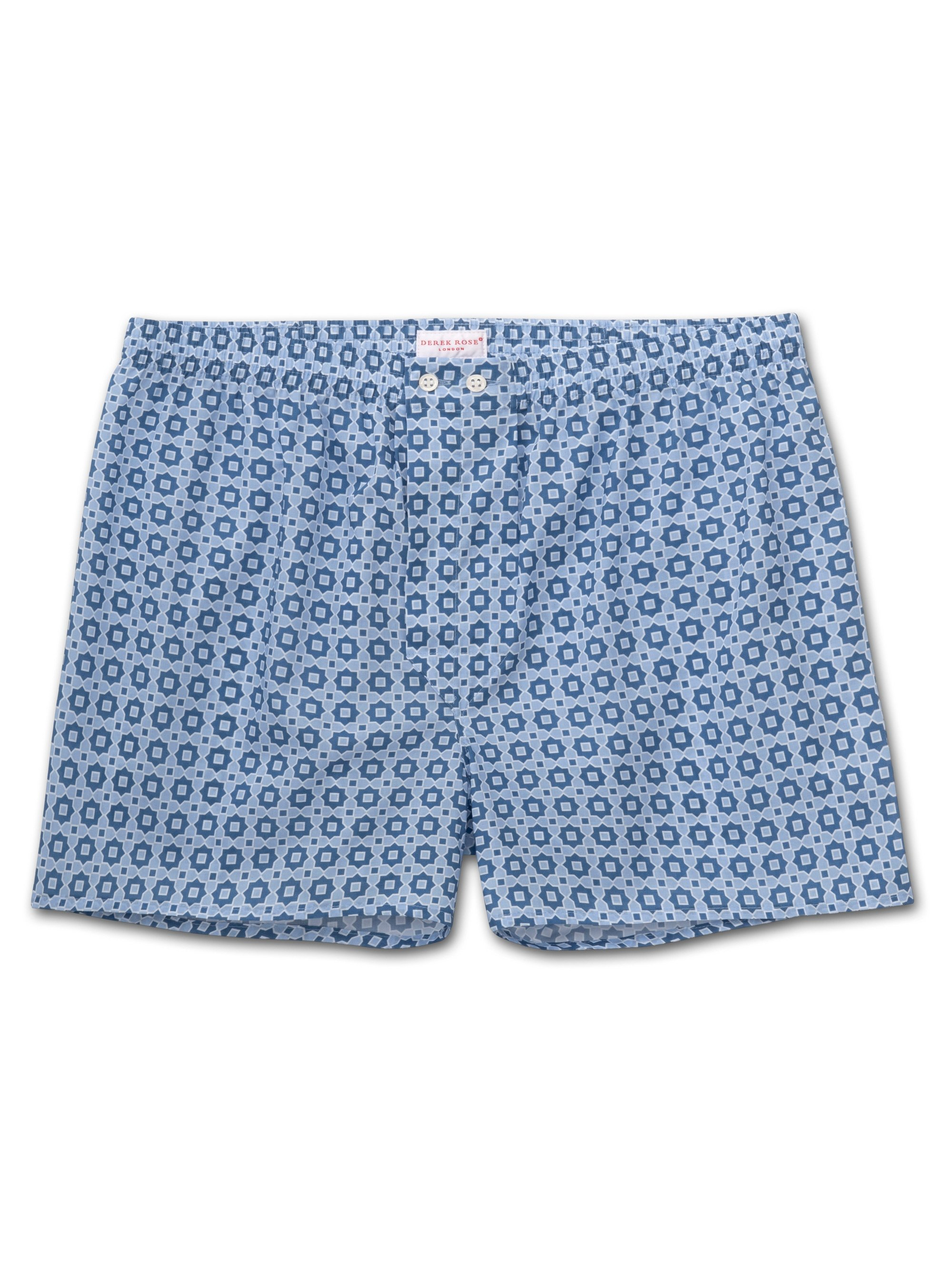 Men's Classic Fit Boxer Shorts Ledbury 34 Cotton Batiste Blue