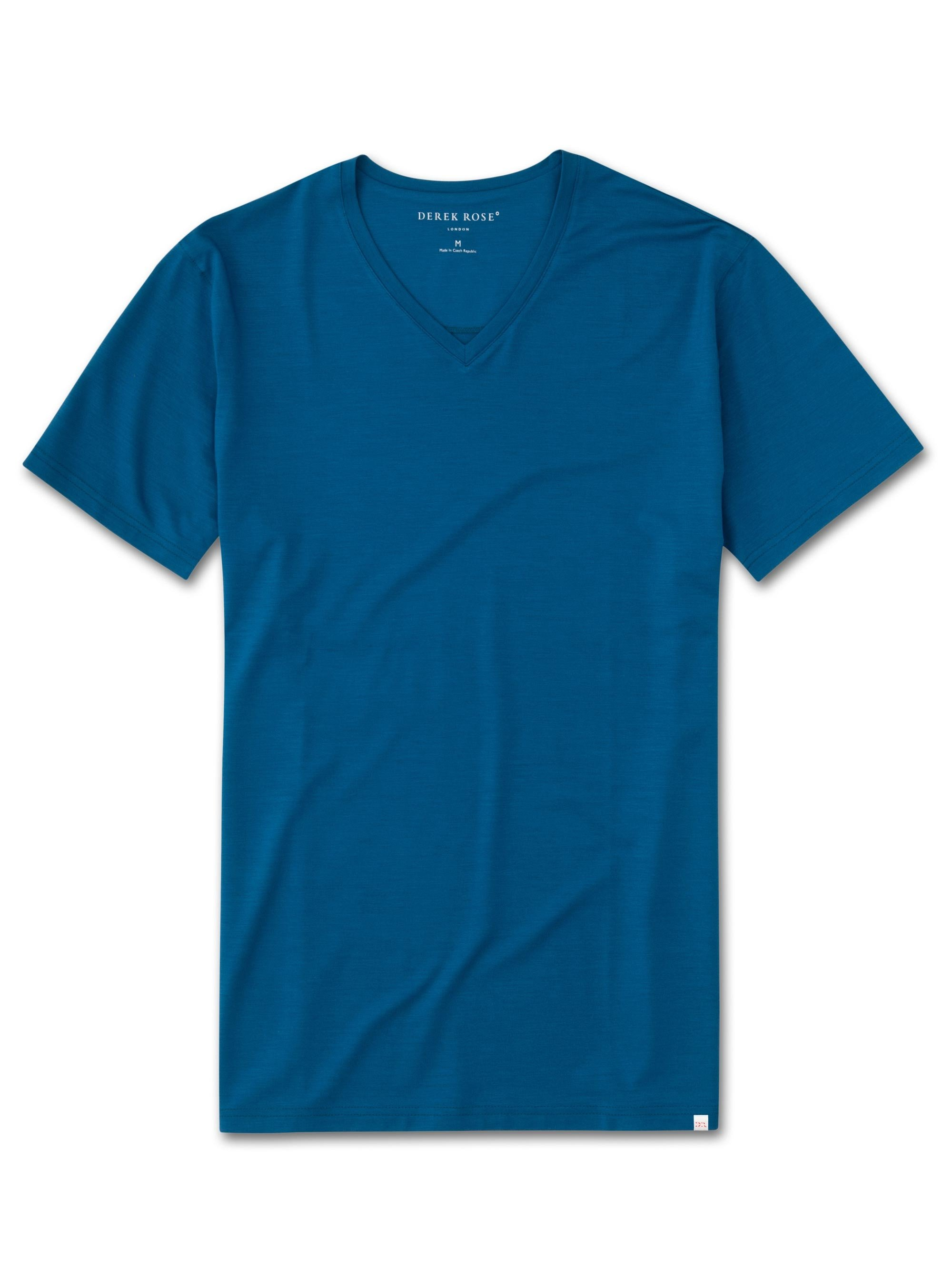 Men's Short Sleeve V-Neck T-Shirt Basel 7 Micro Modal Stretch Ocean