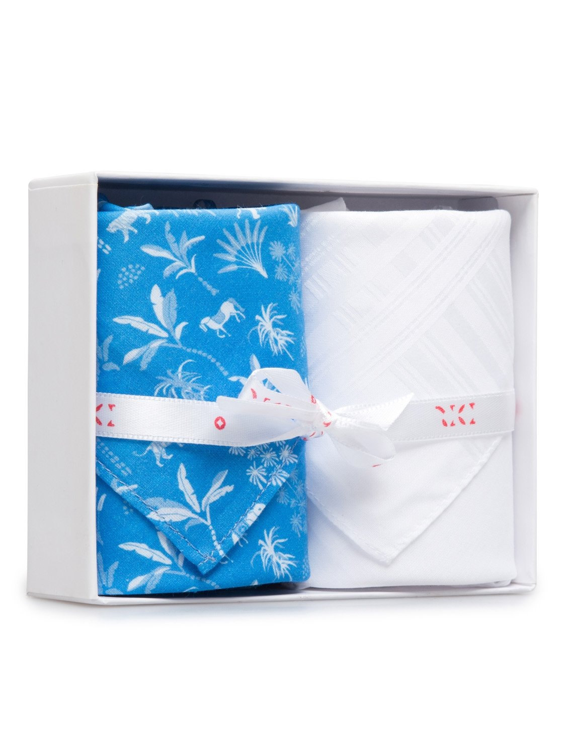 Handkerchief Set Pack 131 Ledbury 8 Blue & Plain White