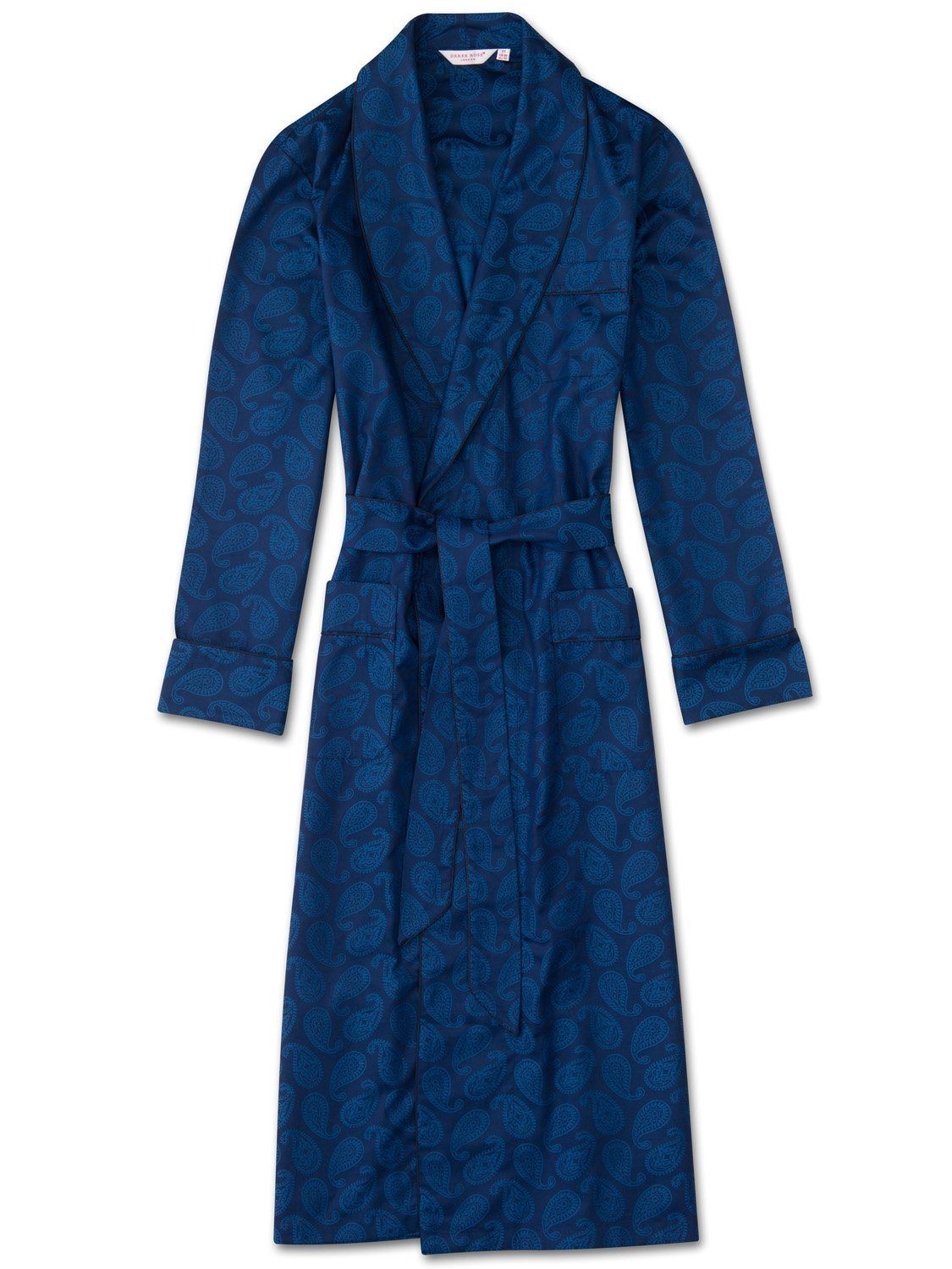 Men's Piped Dressing Gown Paris 13 Cotton Jacquard Navy