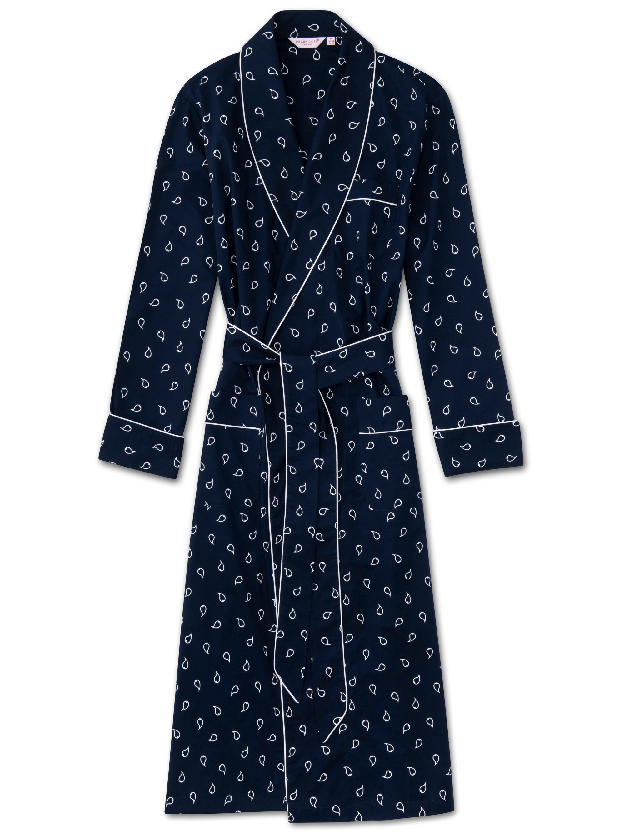 Men's Piped Dressing Gown Nelson 74 Cotton Batiste Navy