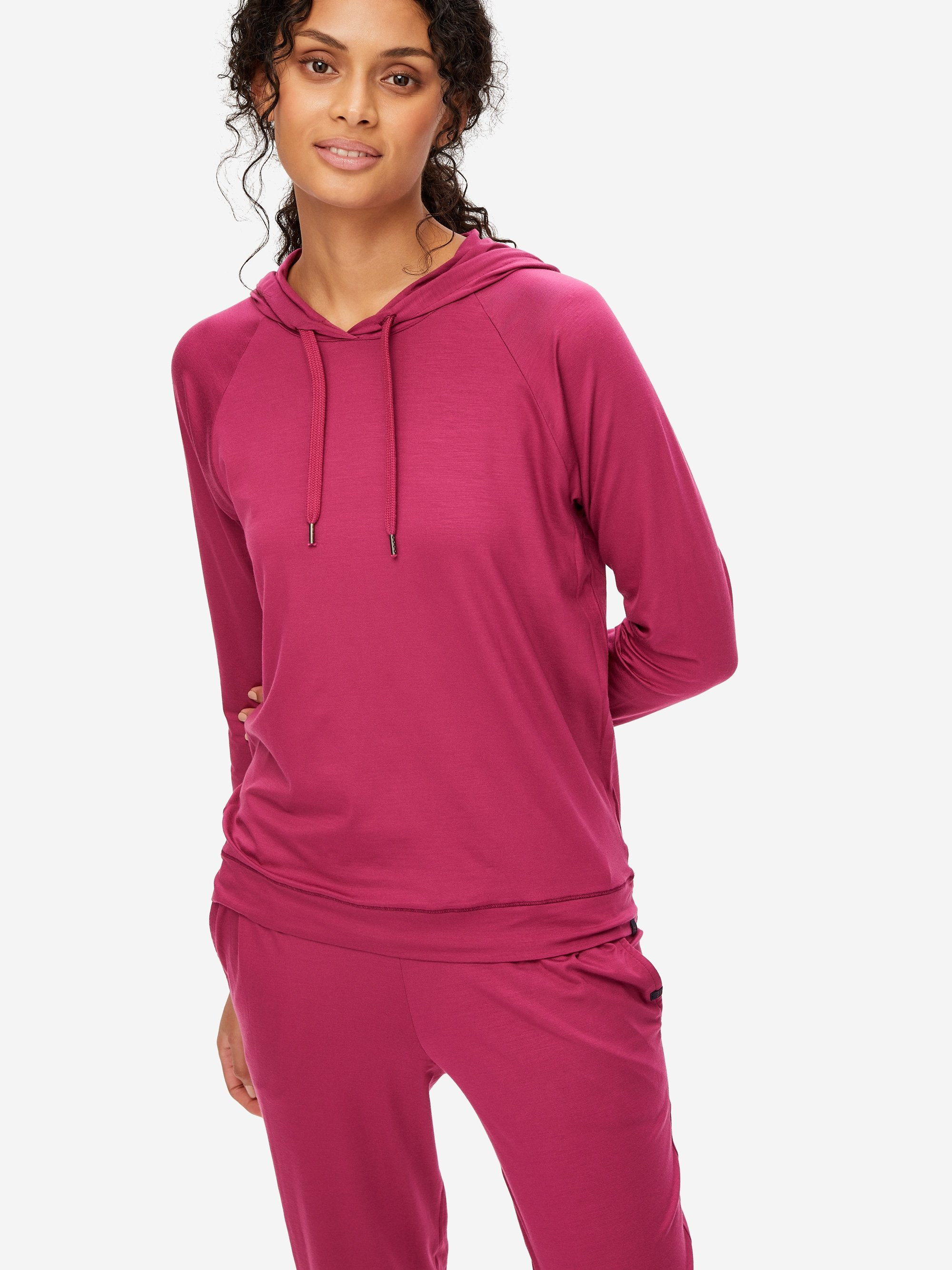 Women's Jersey Pullover Hoodie Basel 10 Micro Modal Stretch Berry