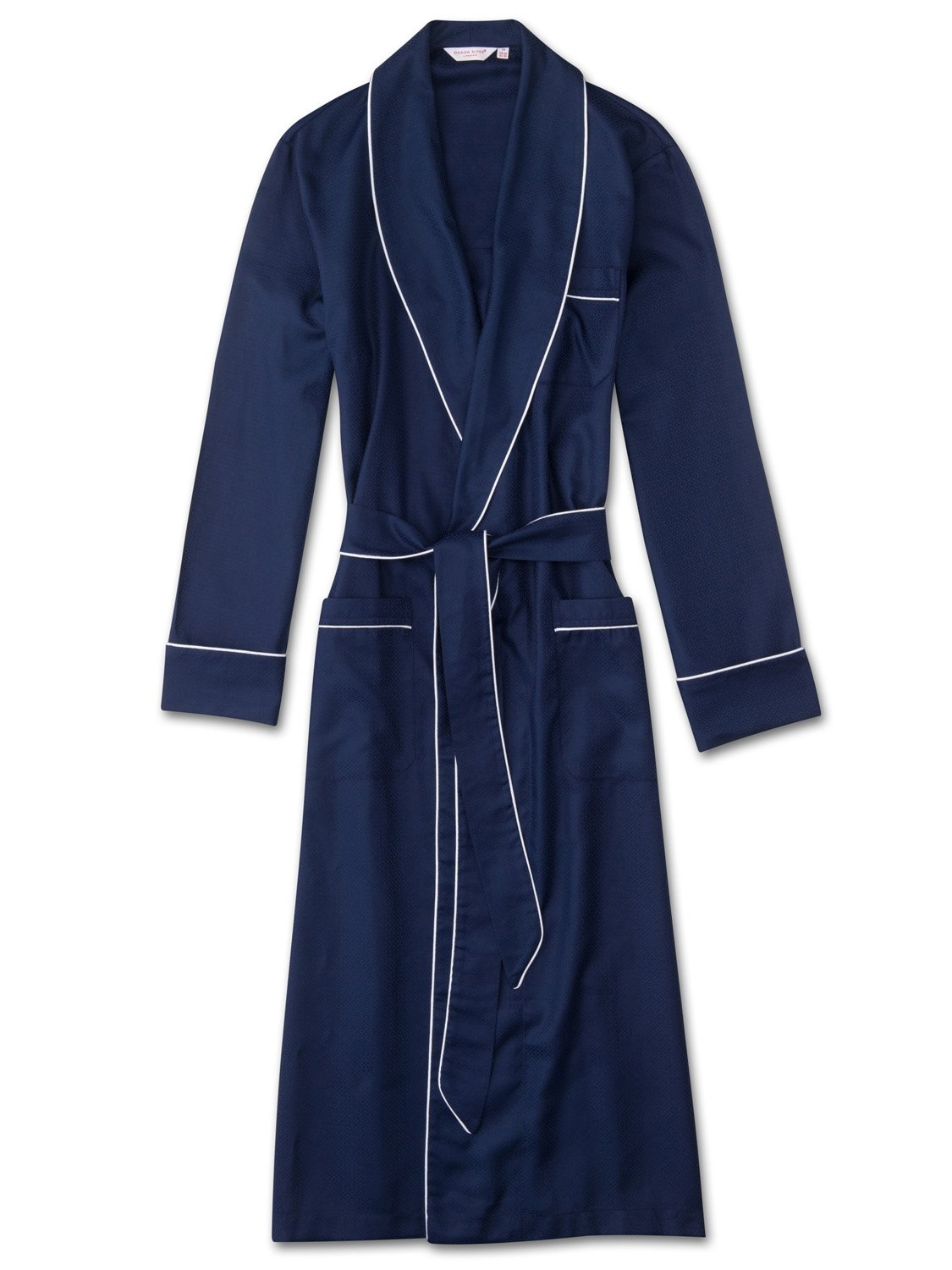 Men's Piped Dressing Gown Lombard 6 Cotton Jacquard Navy