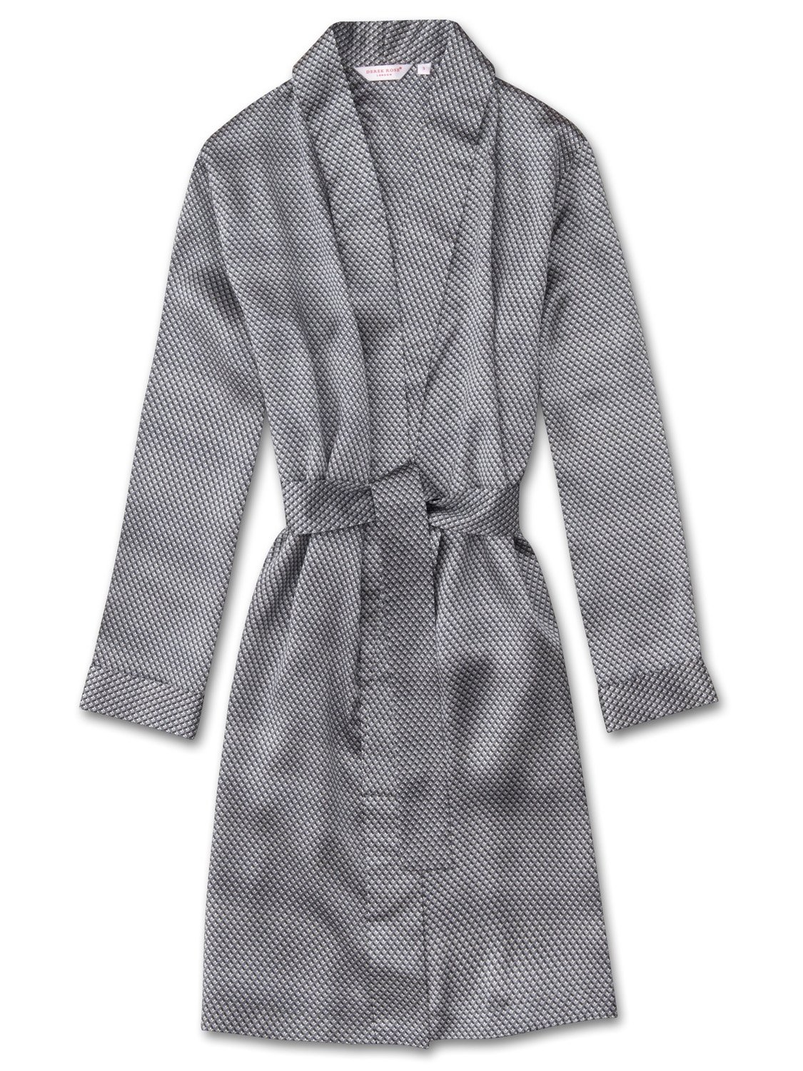 Women's Dressing Gown Brindisi 13 Pure Silk Satin Silver