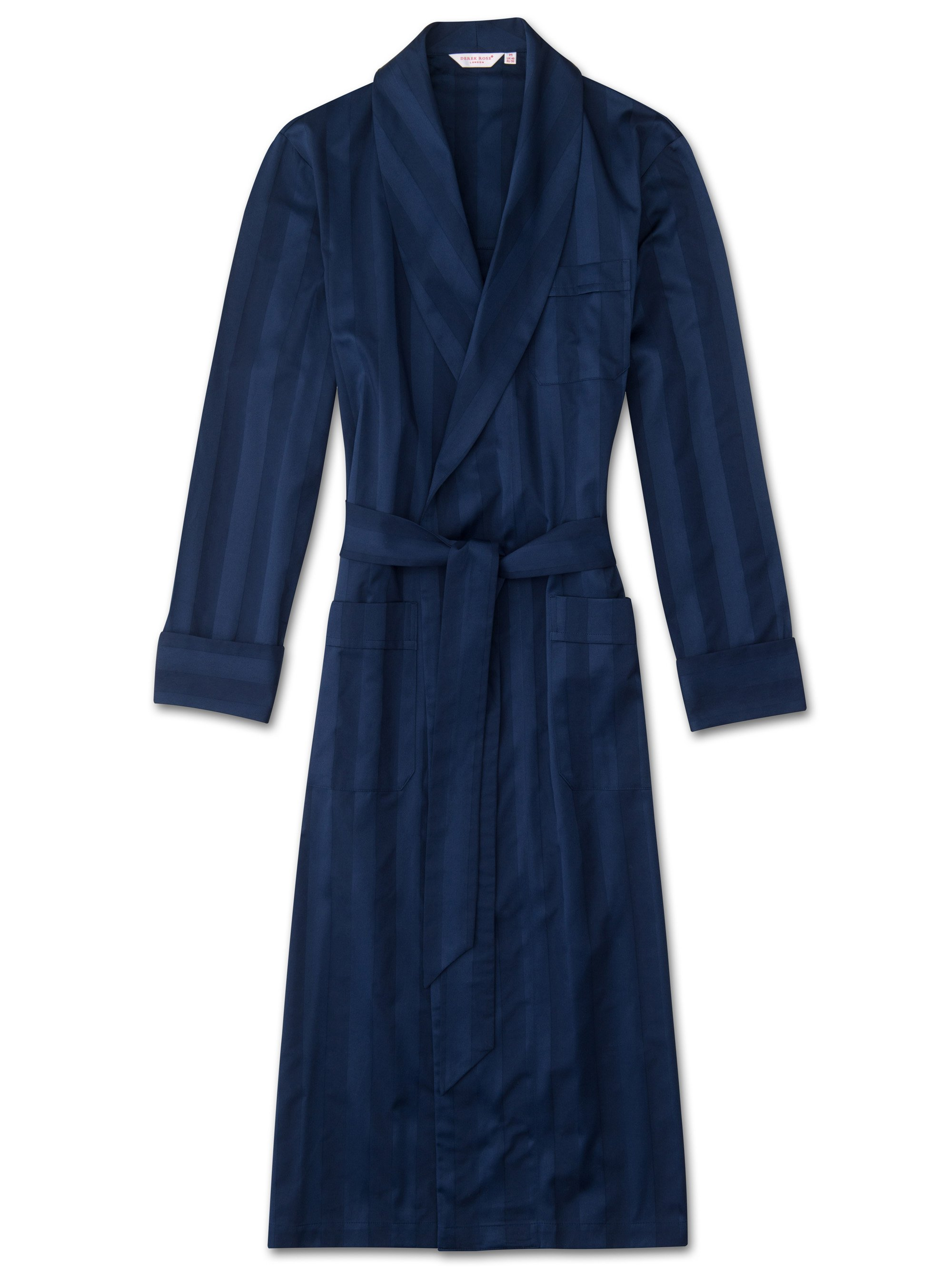 Men's Classic Dressing Gown Lingfield Cotton Satin Stripe Navy