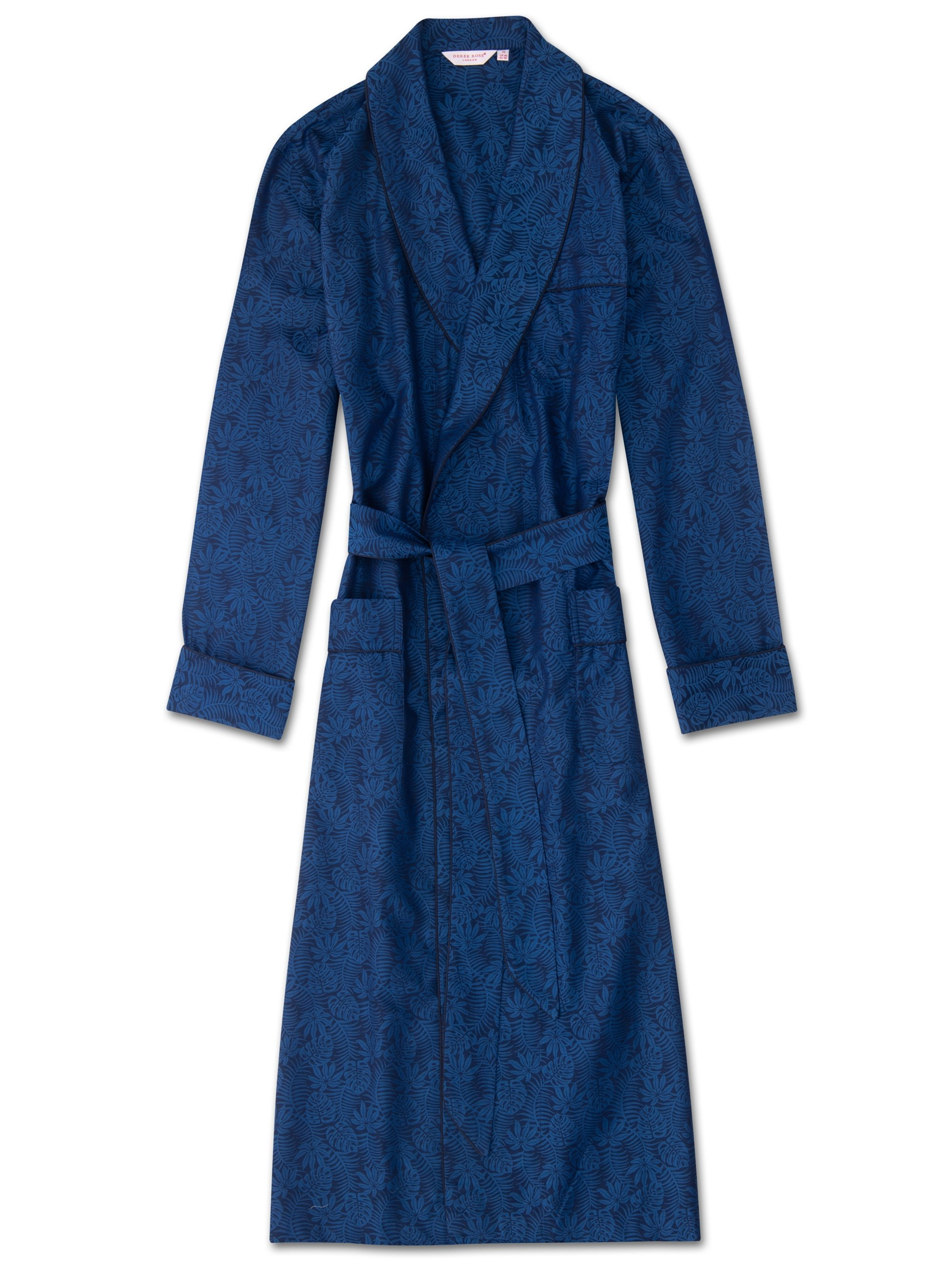 Men's Piped Dressing Gown Paris 15 Cotton Jacquard Navy