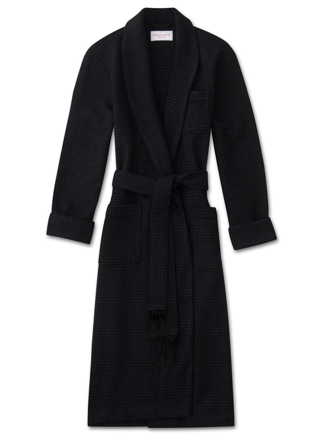 premium selection top-rated newest discount price Men's Tasseled Belt Dressing Gown Blandford Merino Cashmere Check Charcoal