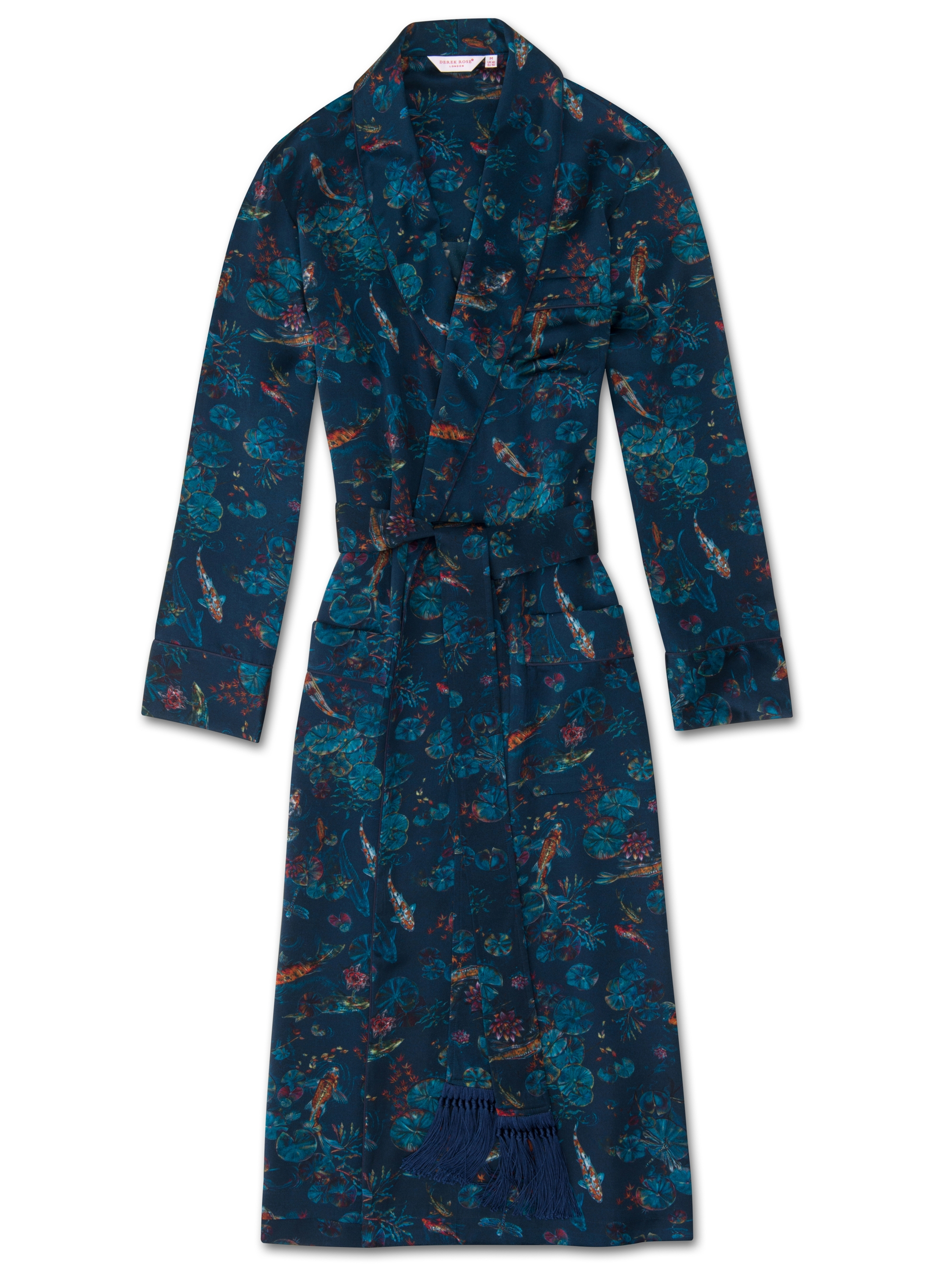 Men\'s Luxury Pure Silk Dressing Gown Koi Multi | Derek Rose