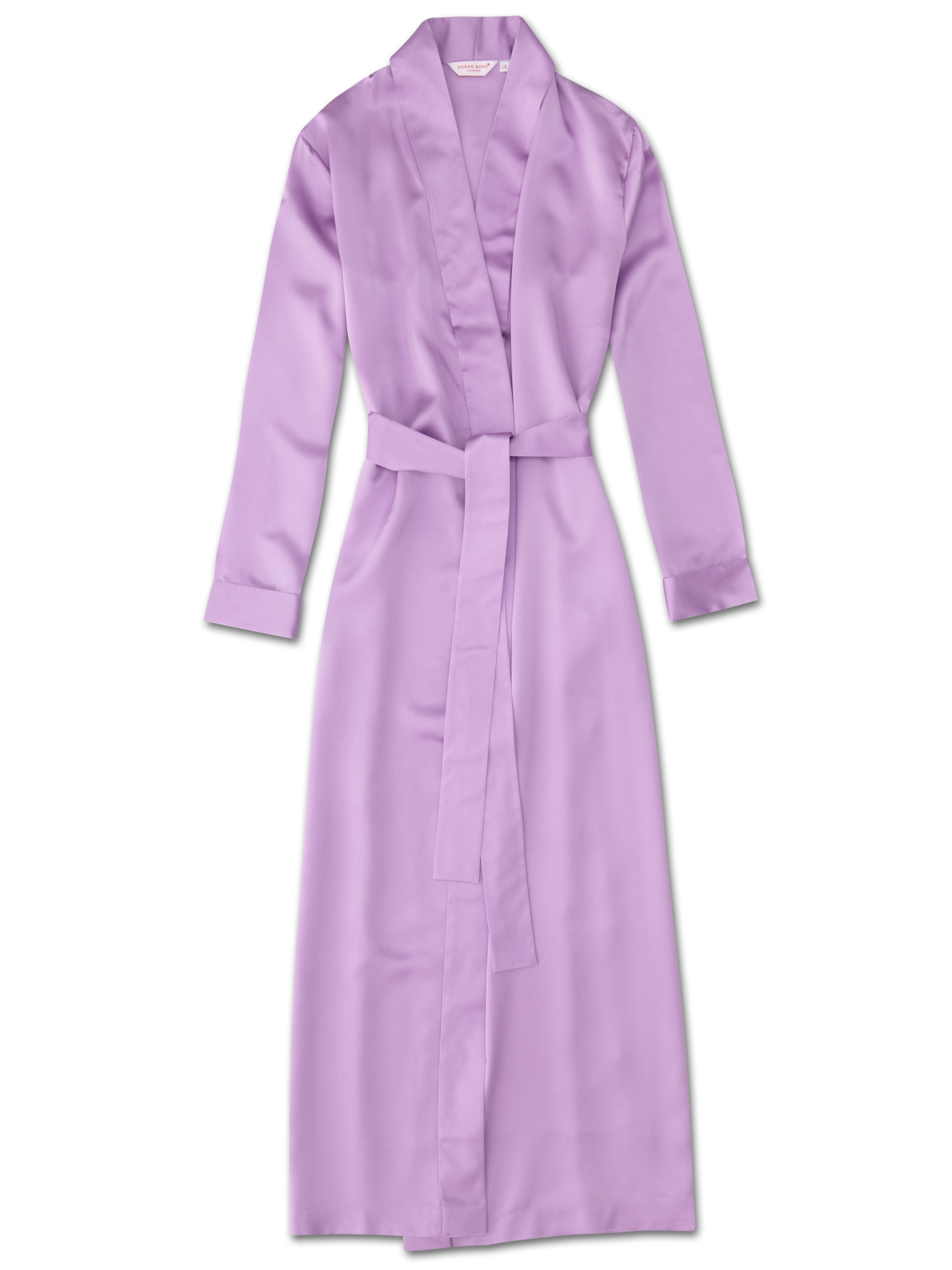 get online size 7 finest selection Women's Full Length Dressing Gown Bailey Pure Silk Satin Lilac